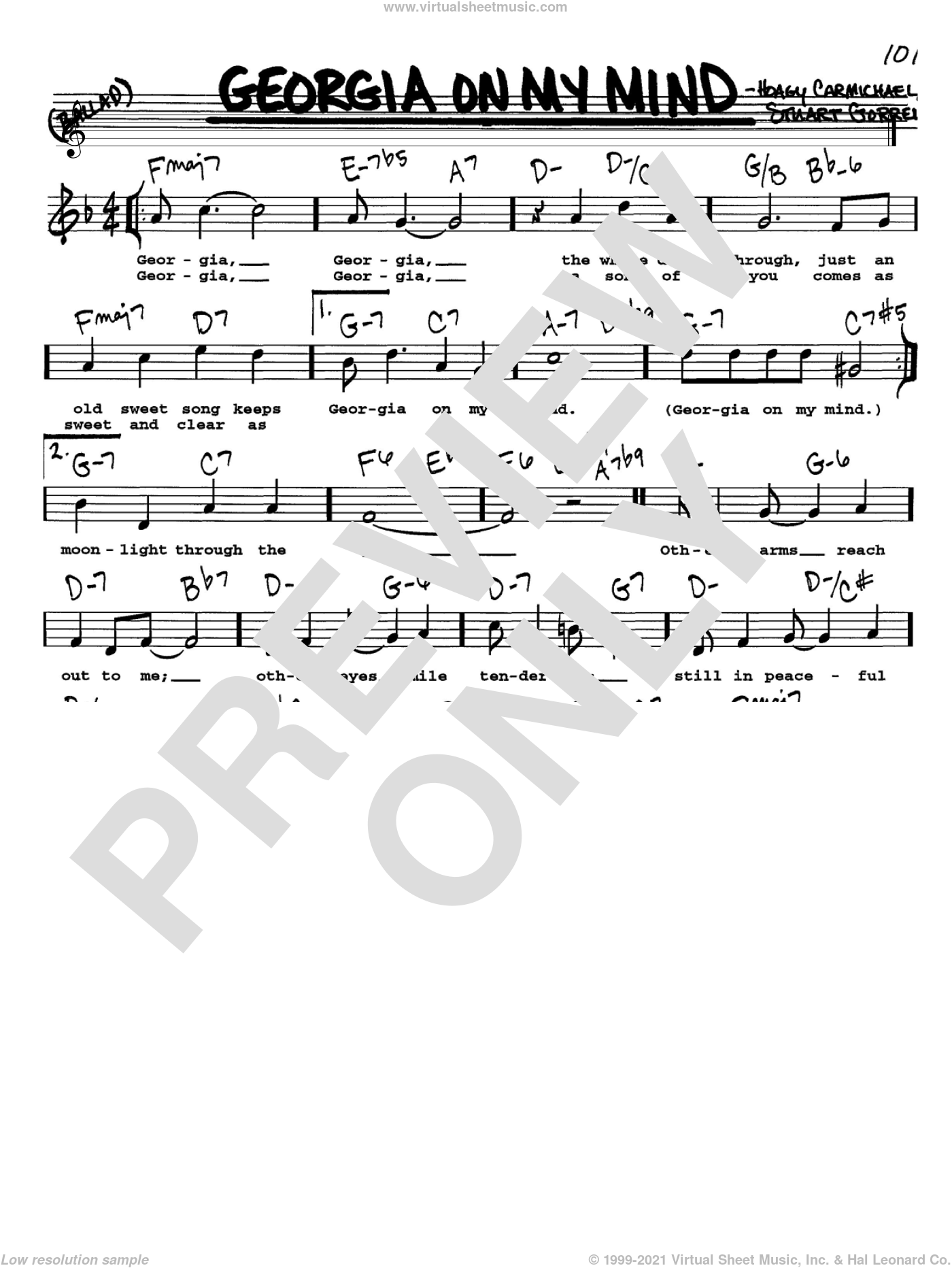 Georgia On My Mind sheet music for voice and other instruments  by Ray Charles, Willie Nelson, Hoagy Carmichael and Stuart Gorrell, intermediate skill level