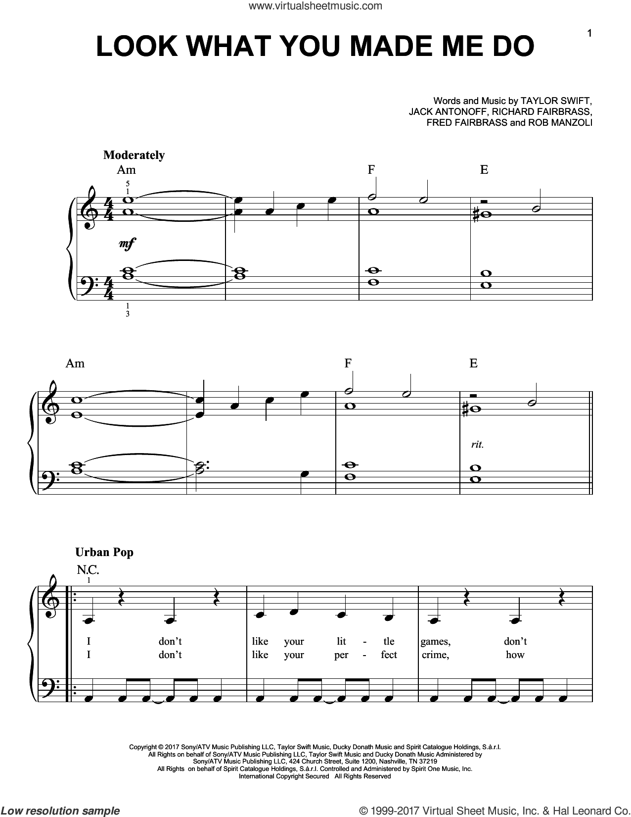 Look What You Made Me Do sheet music for piano solo by Taylor Swift, Fred Fairbrass, Jack Antonoff, Richard Fairbrass and Rob Manzoli, easy. Score Image Preview.