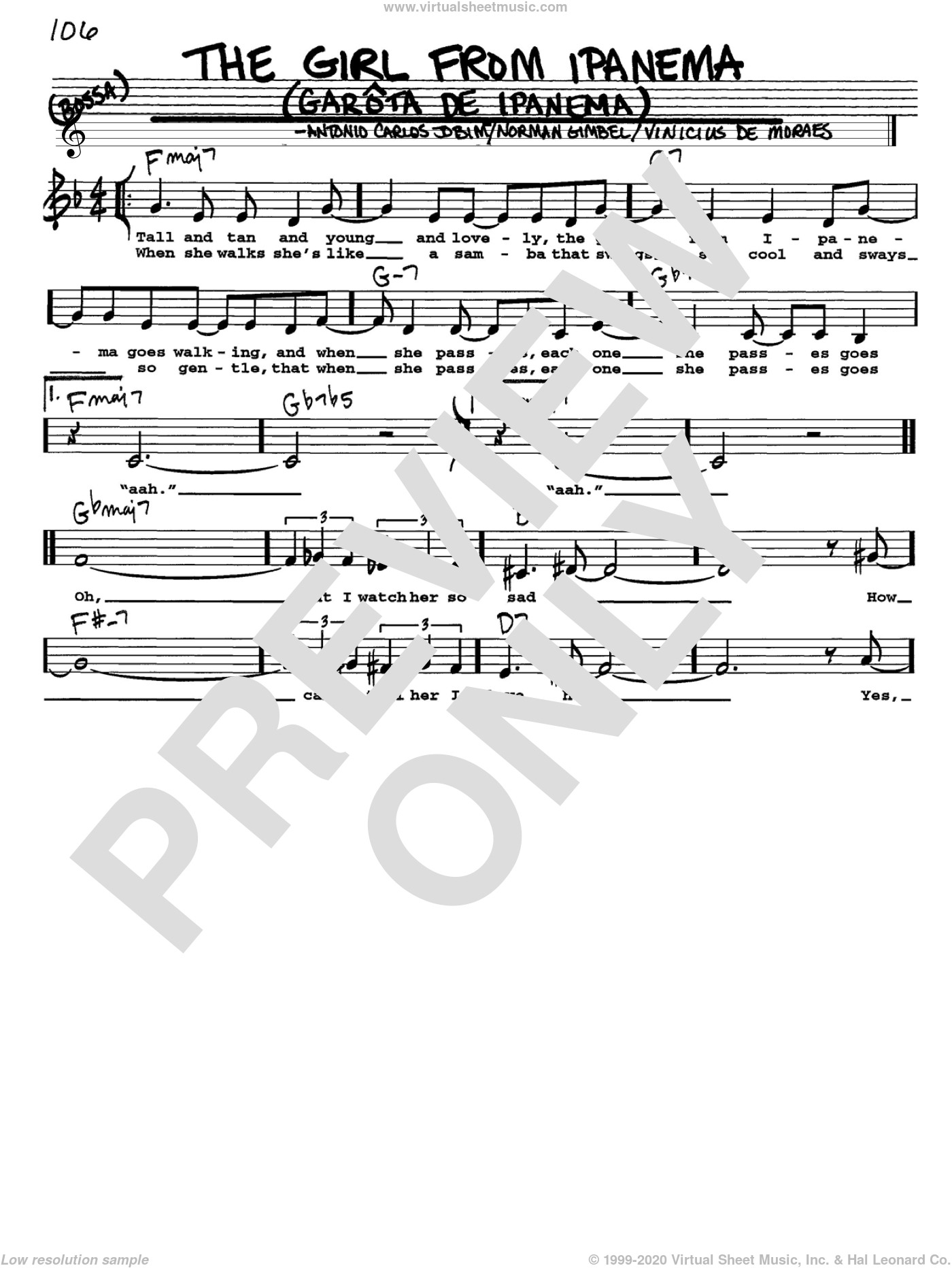 The Girl From Ipanema (Garota De Ipanema) sheet music for voice and other instruments (Vocal Volume 1) by Vinicius de Moraes, Antonio Carlos Jobim and Norman Gimbel. Score Image Preview.