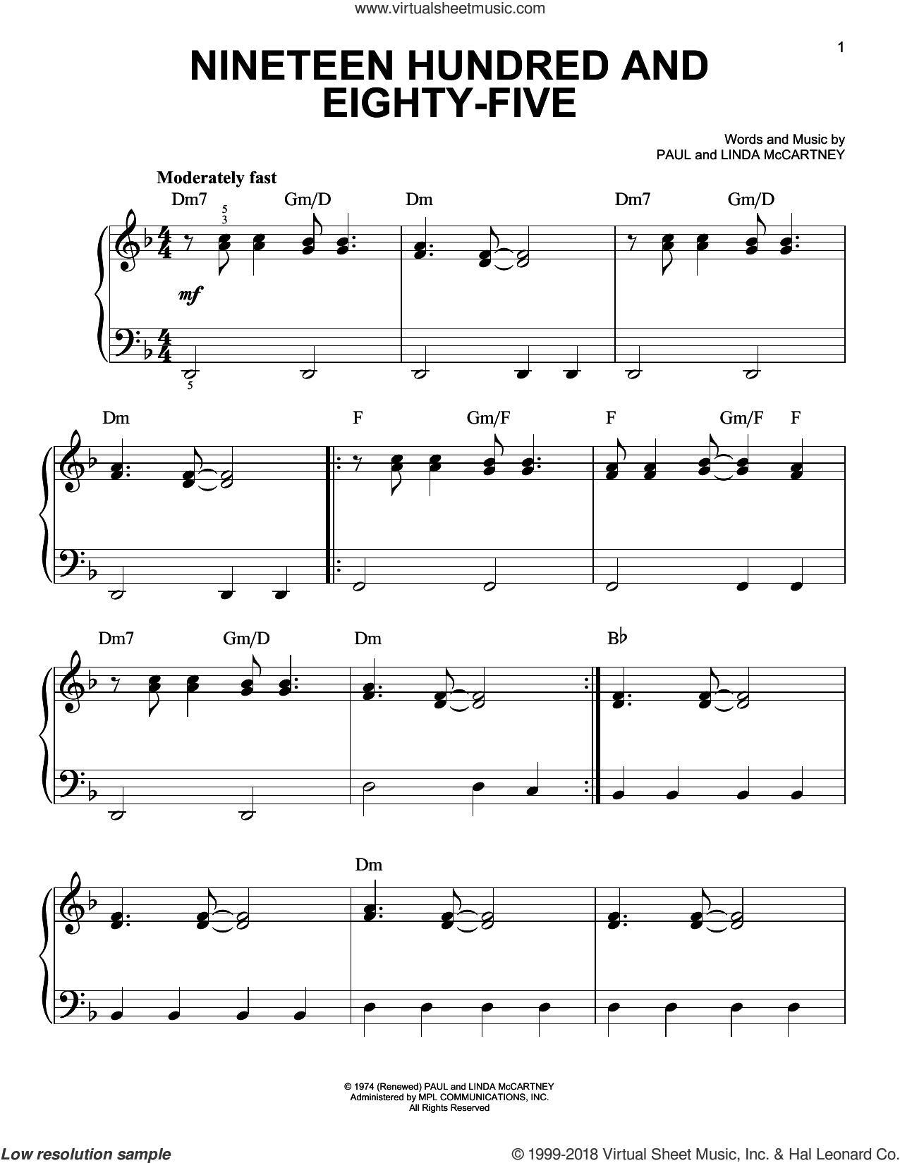 Nineteen Hundred And Eighty-Five sheet music for piano solo by Paul McCartney and Linda McCartney, easy skill level