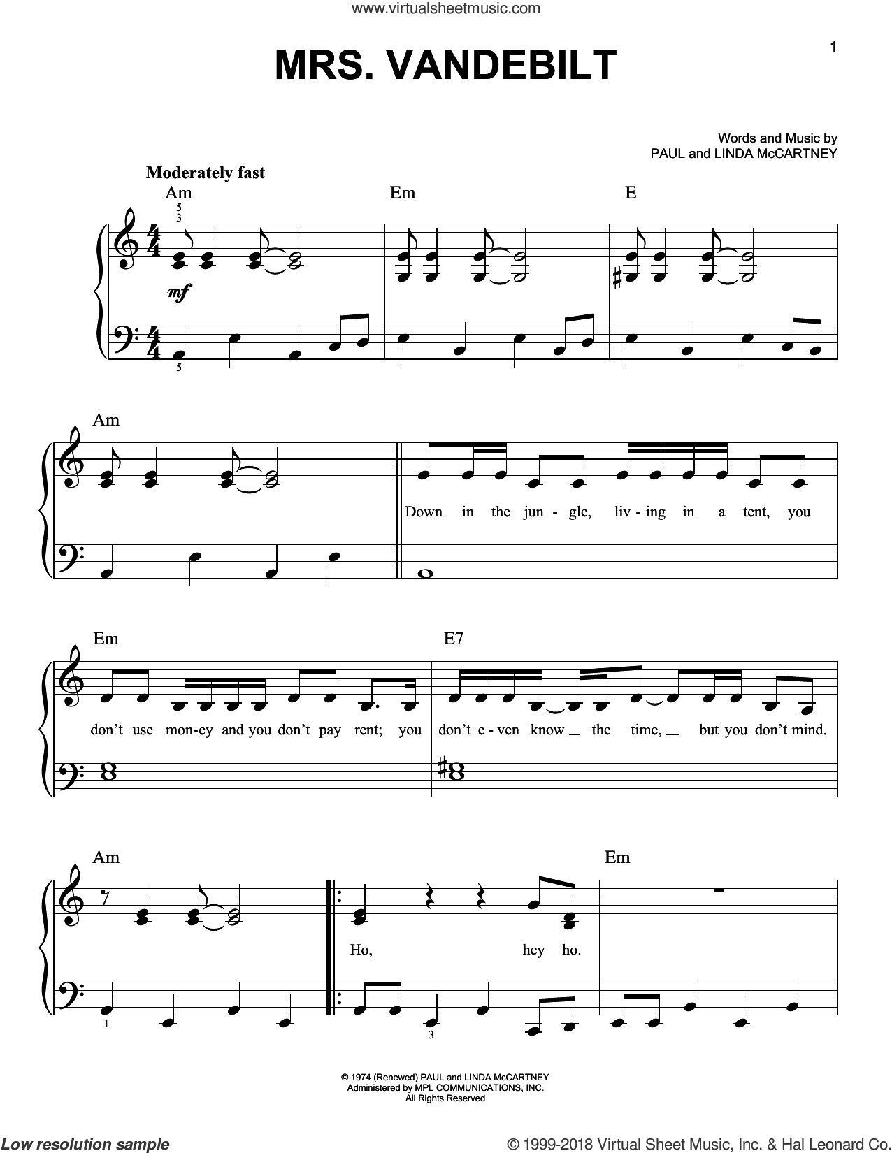 Mrs. Vandebilt sheet music for piano solo by Paul McCartney and Linda McCartney, easy skill level