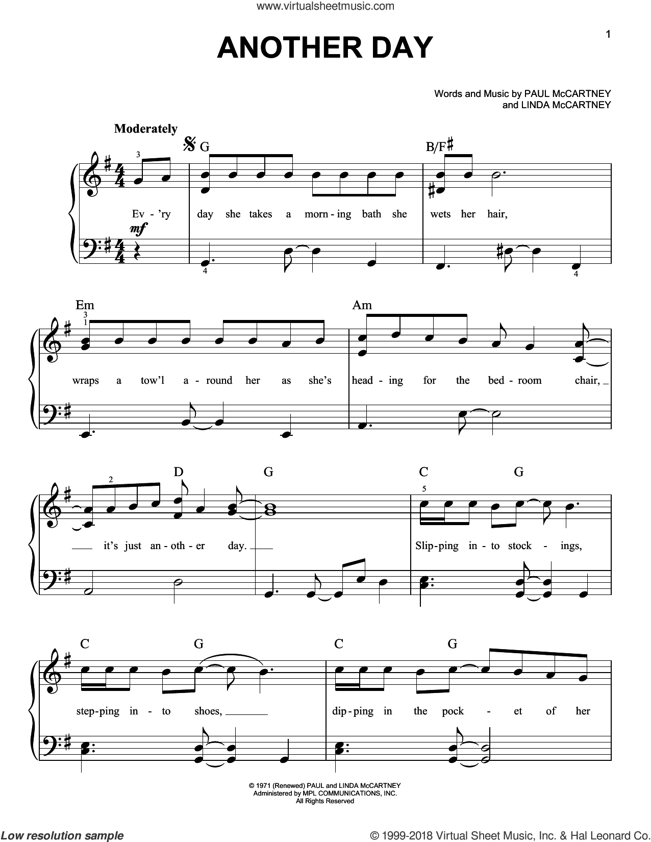 Another Day sheet music for piano solo by Paul McCartney and Linda McCartney, easy skill level