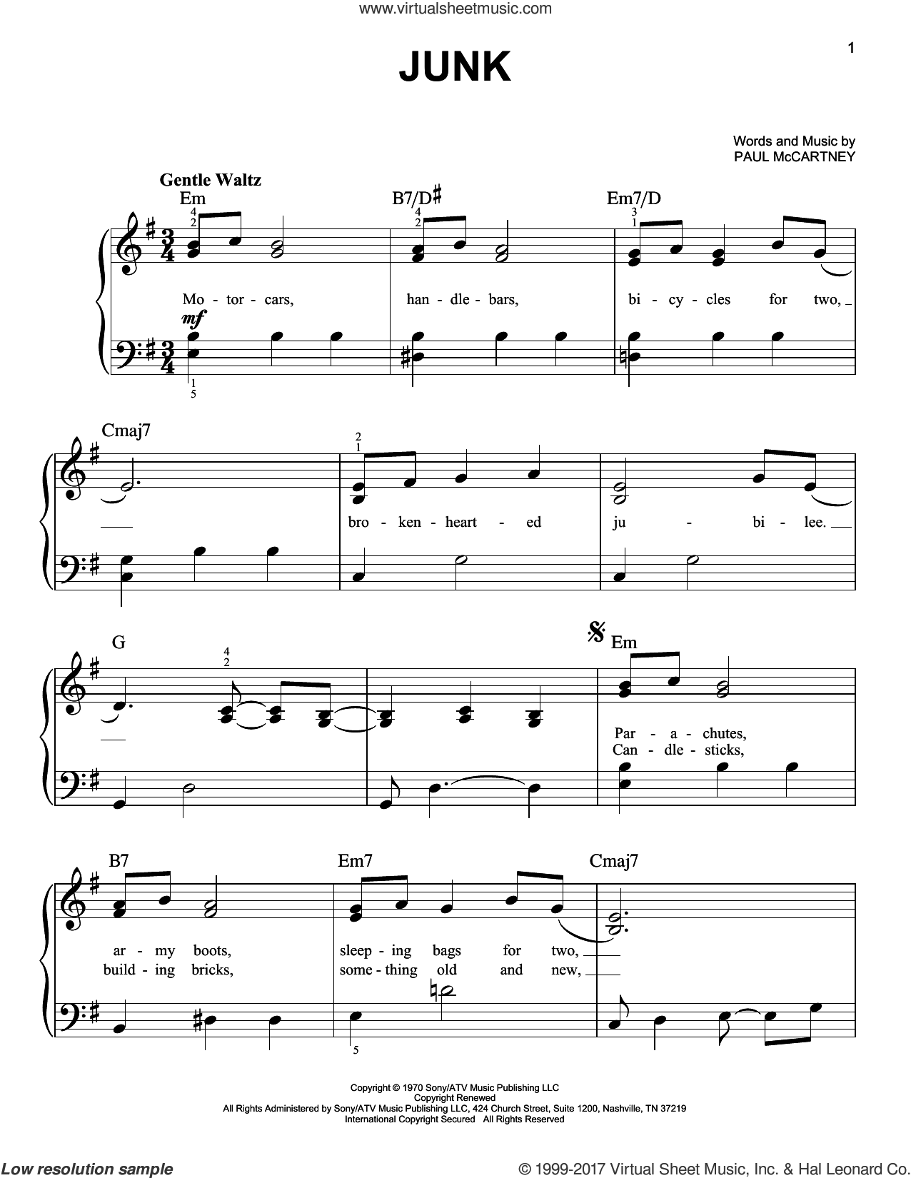 Junk sheet music for piano solo by The Beatles and Paul McCartney, easy skill level