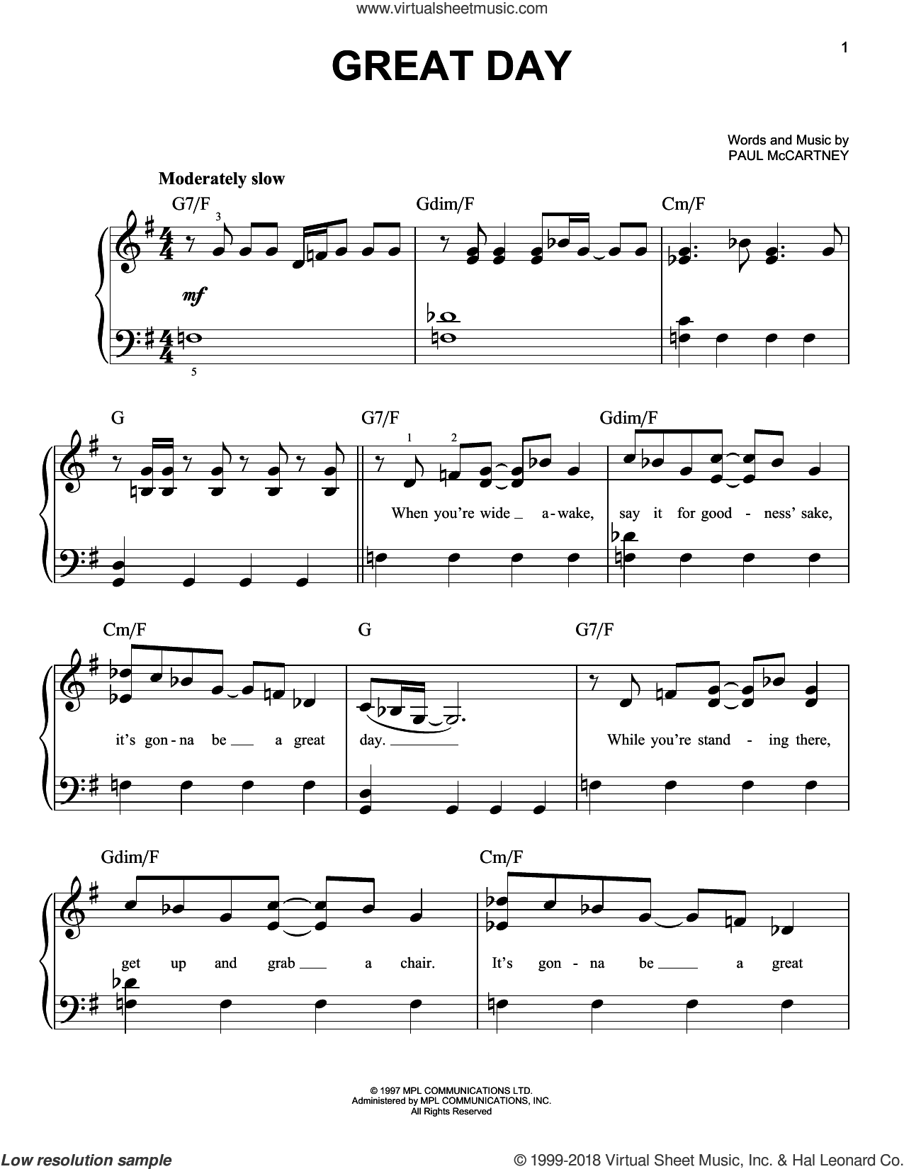 Great Day sheet music for piano solo by Paul McCartney, easy skill level