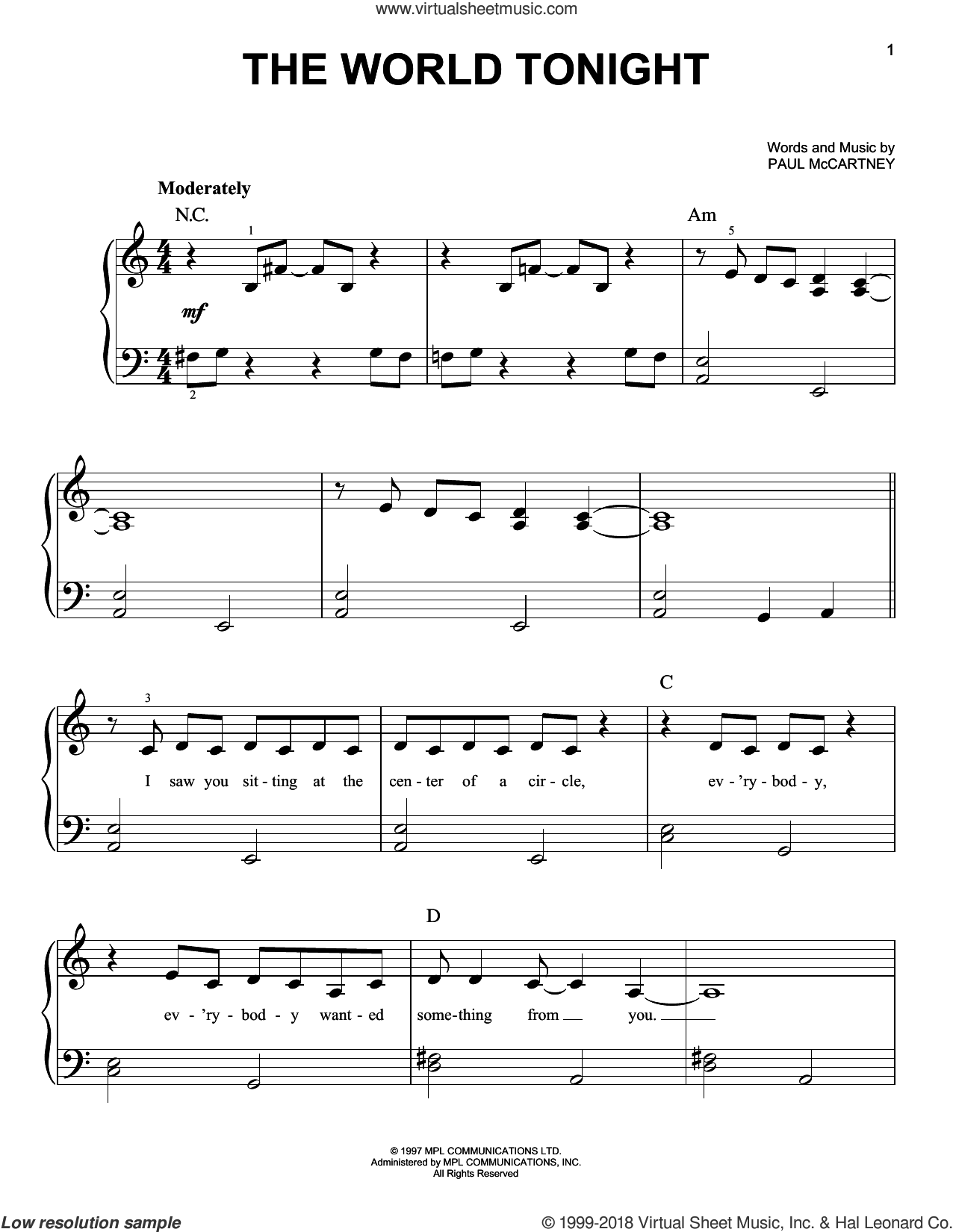 The World Tonight sheet music for piano solo by Paul McCartney, easy skill level
