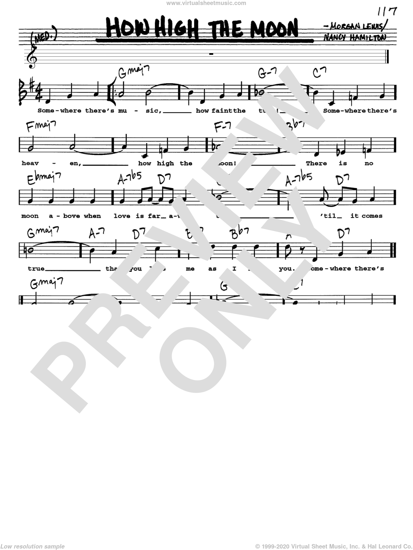 How High The Moon sheet music for voice and other instruments (Vocal Volume 1) by Les Paul, Morgan Lewis and Nancy Hamilton, intermediate. Score Image Preview.