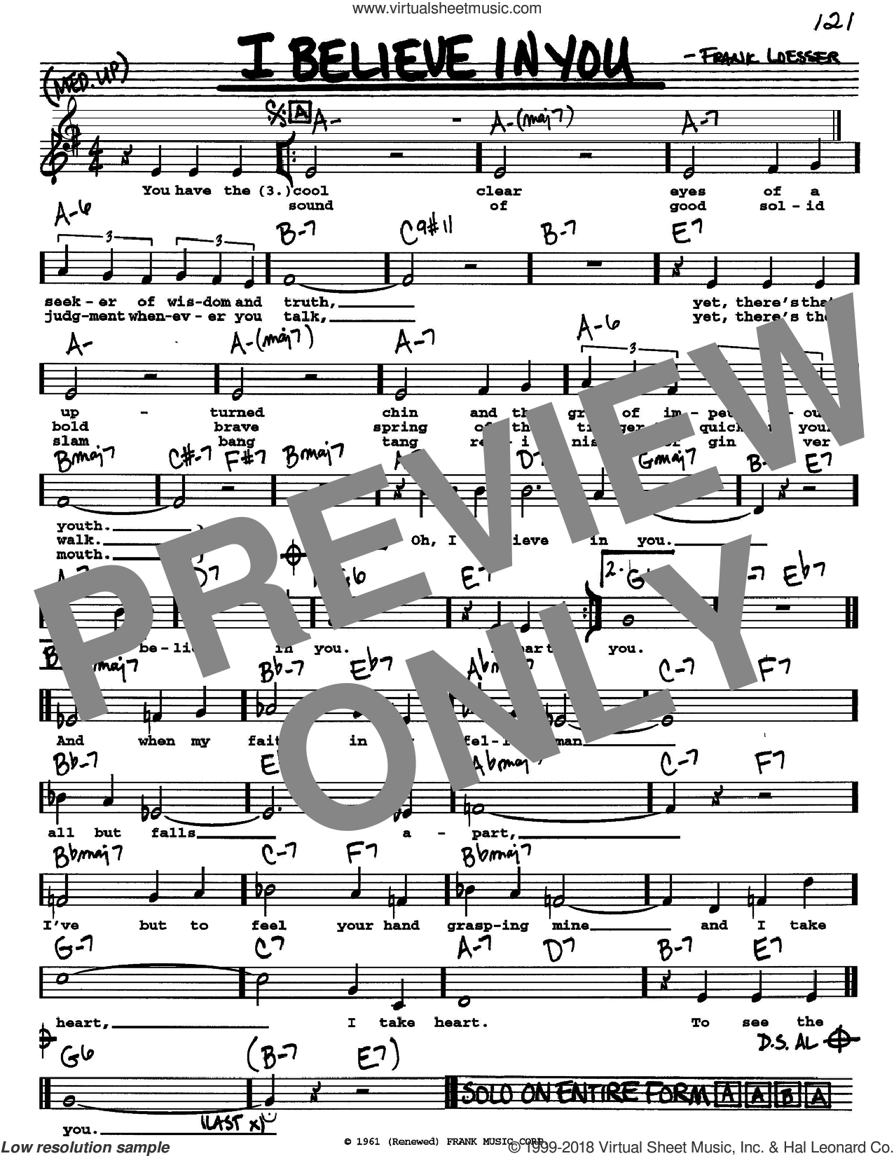 I Believe In You sheet music for voice and other instruments  by Frank Loesser, intermediate skill level