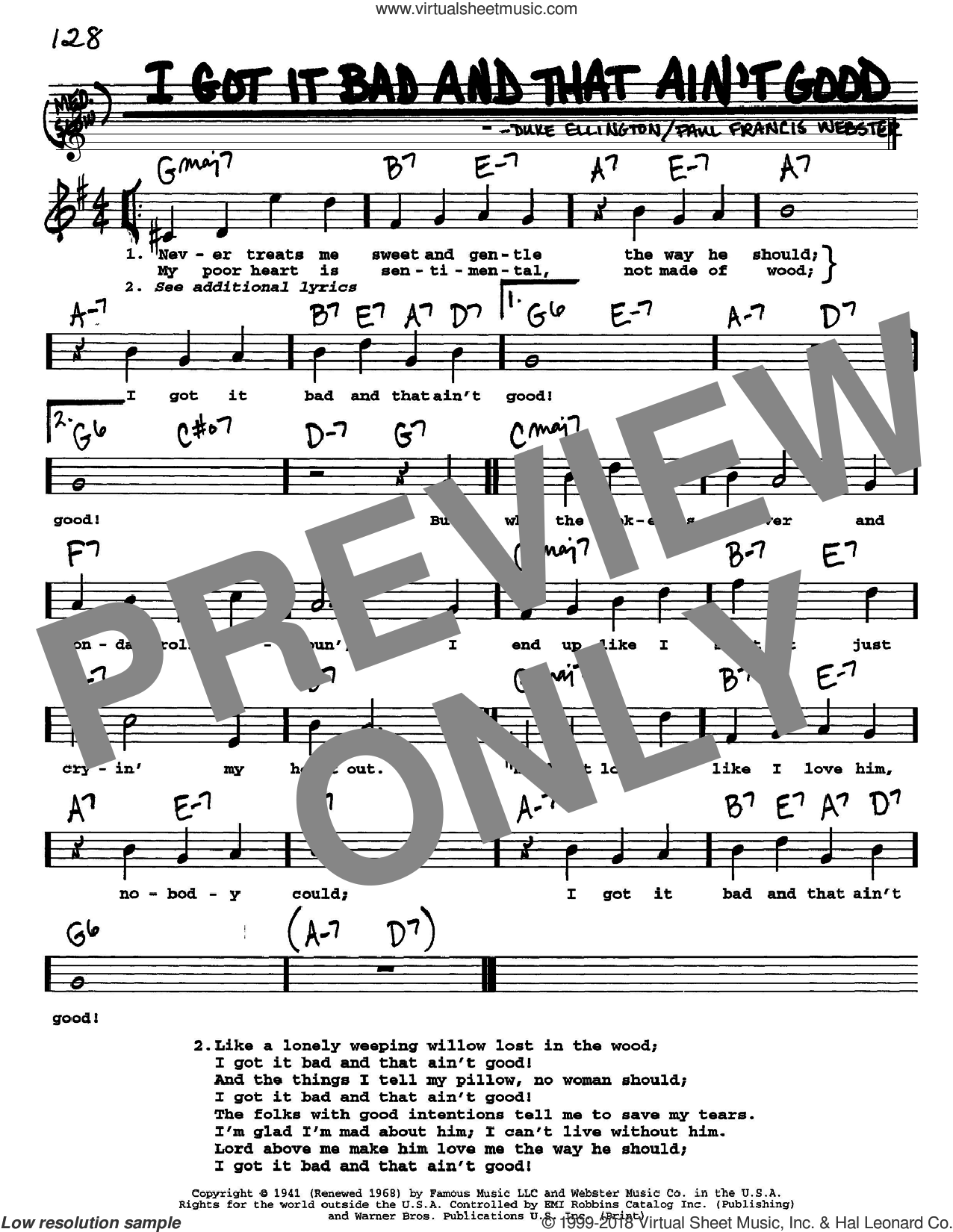 I Got It Bad And That Ain't Good sheet music for voice and other instruments  by Duke Ellington and Paul Francis Webster, intermediate. Score Image Preview.