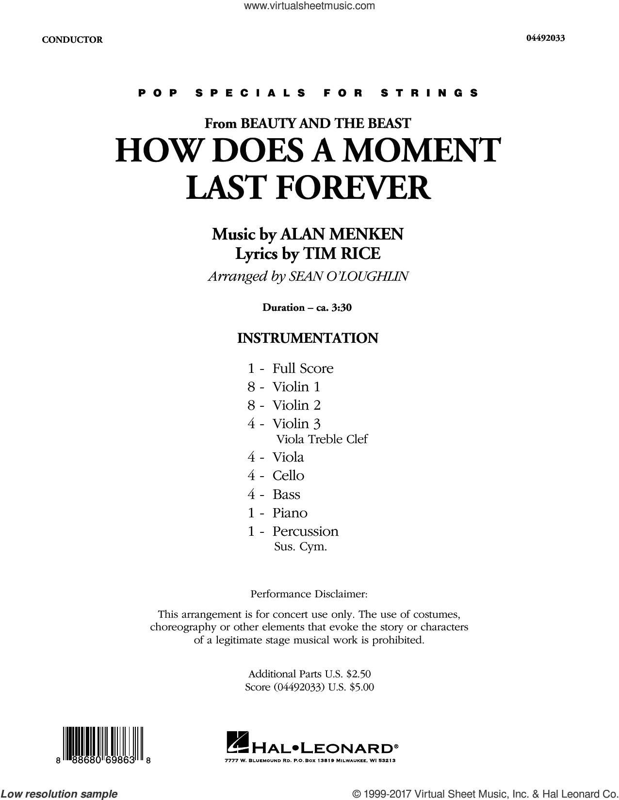 How Does a Moment Last Forever (from Beauty and the Beast) (COMPLETE) sheet music for orchestra by Alan Menken and Tim Rice, intermediate orchestra. Score Image Preview.