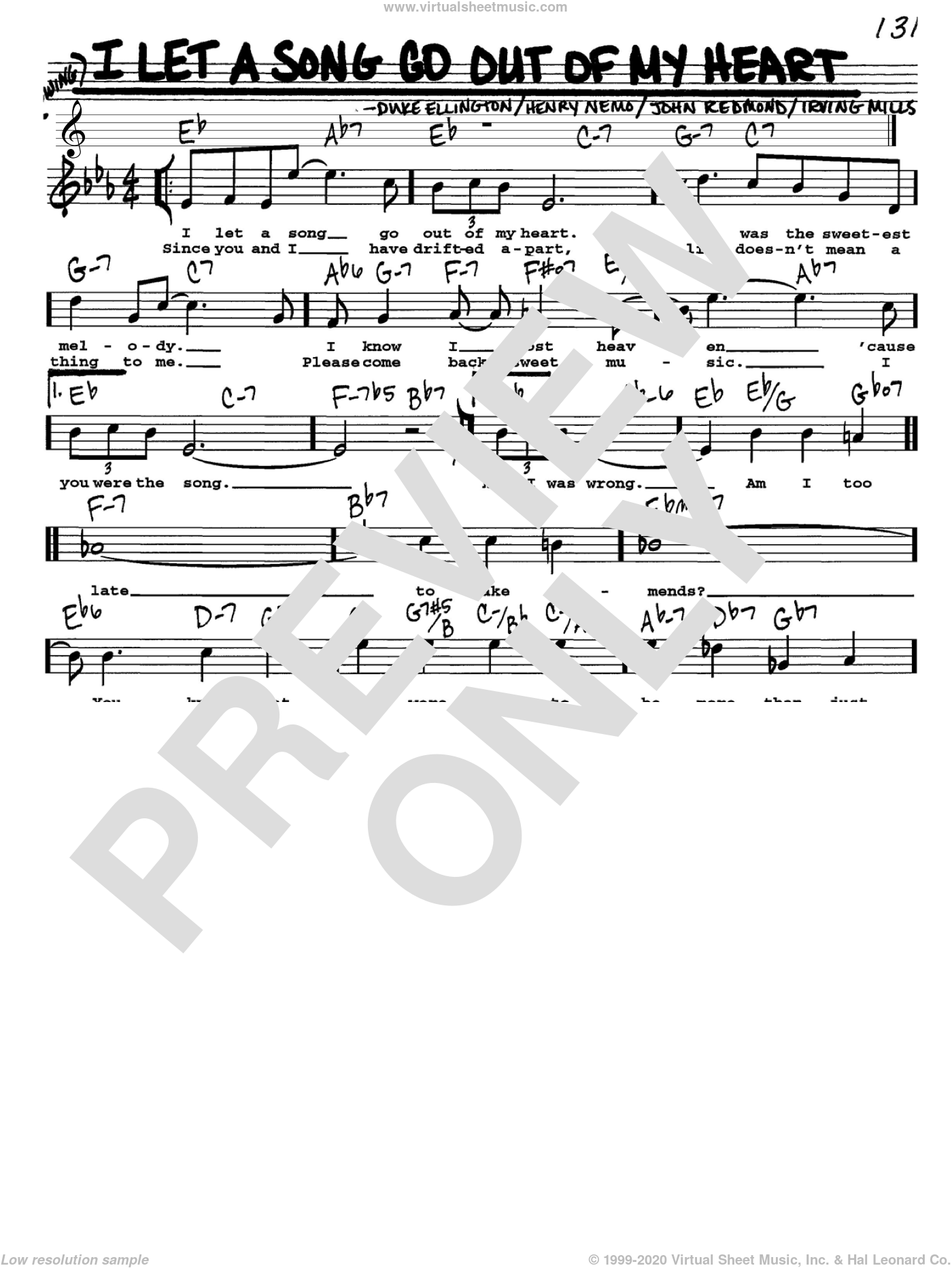 I Let A Song Go Out Of My Heart sheet music for voice and other instruments (Vocal Volume 1) by John Redmond, Duke Ellington, Henry Nemo and Irving Mills. Score Image Preview.