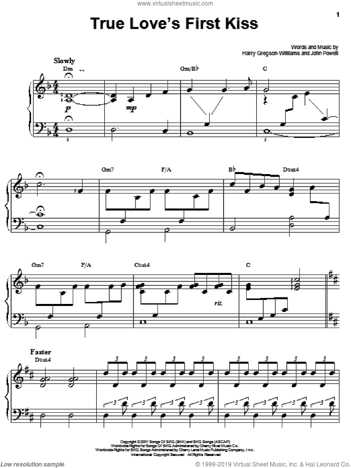 True Love's First Kiss sheet music for piano solo by Harry Gregson-Williams, Shrek (Movie) and John Powell, easy skill level