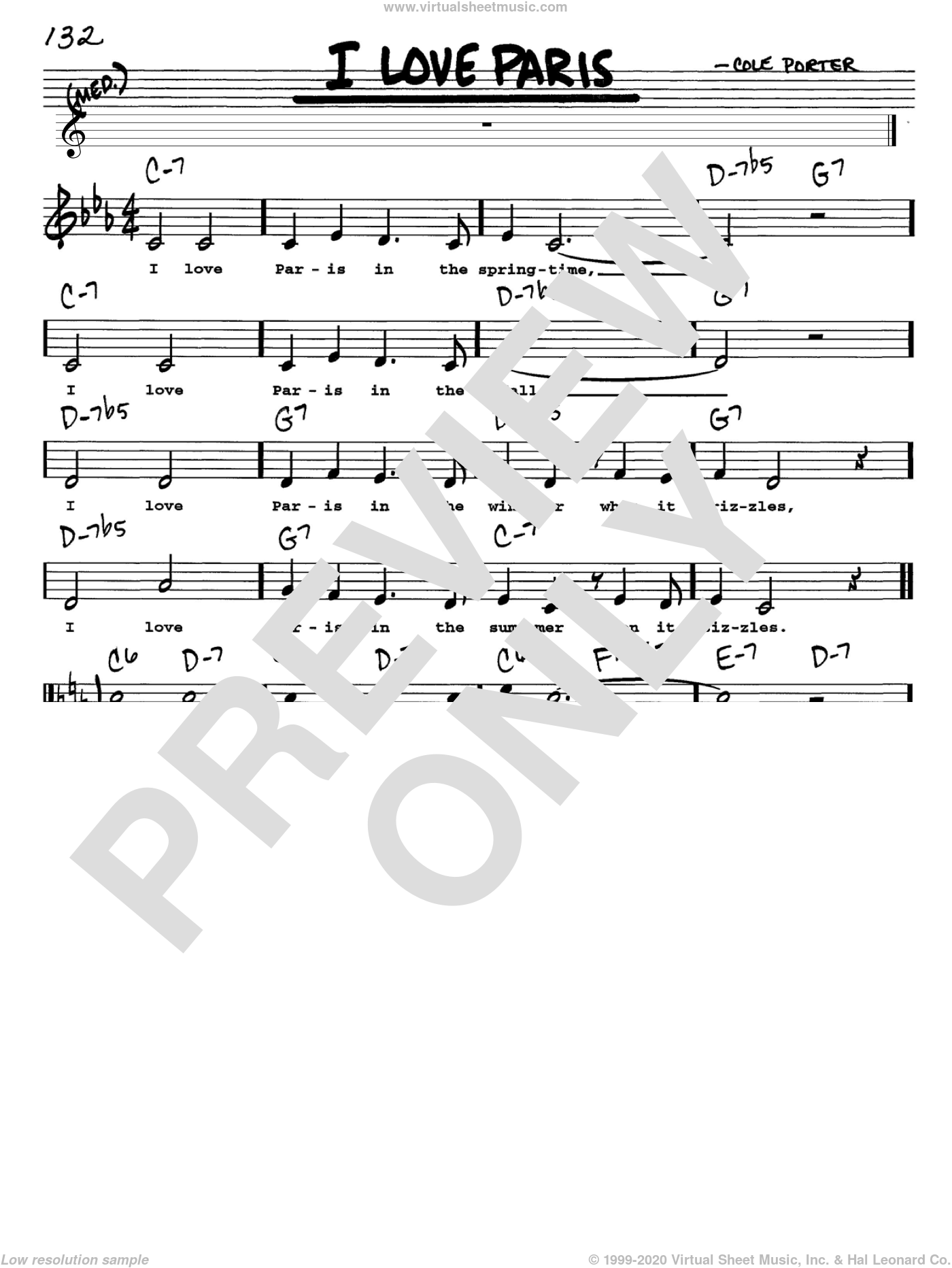 I Love Paris sheet music for voice and other instruments (Vocal Volume 1) by Cole Porter. Score Image Preview.