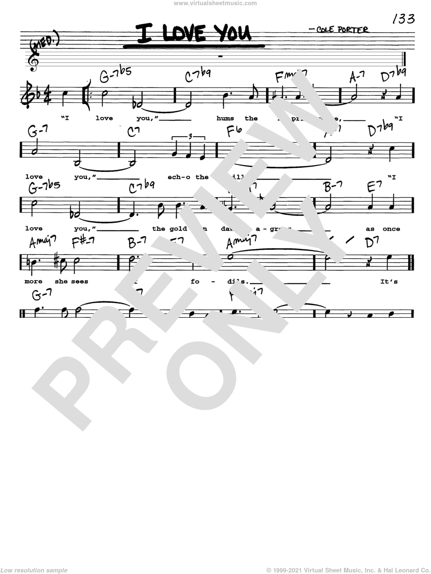 I Love You sheet music for voice and other instruments (Vocal Volume 1) by Cole Porter. Score Image Preview.