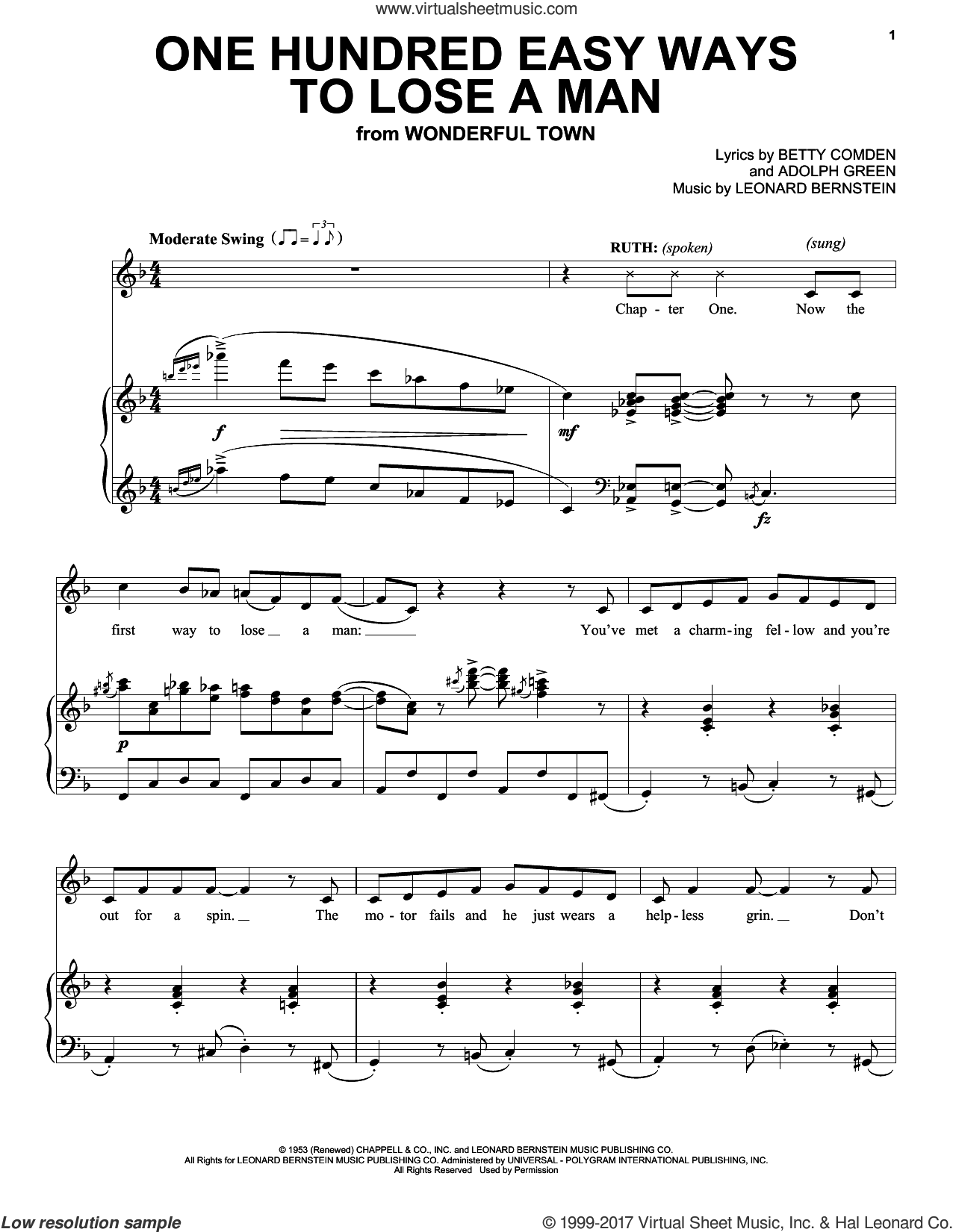 One Hundred Easy Ways To Lose A Man sheet music for voice and piano by Adolph Green, Betty Comden and Leonard Bernstein. Score Image Preview.