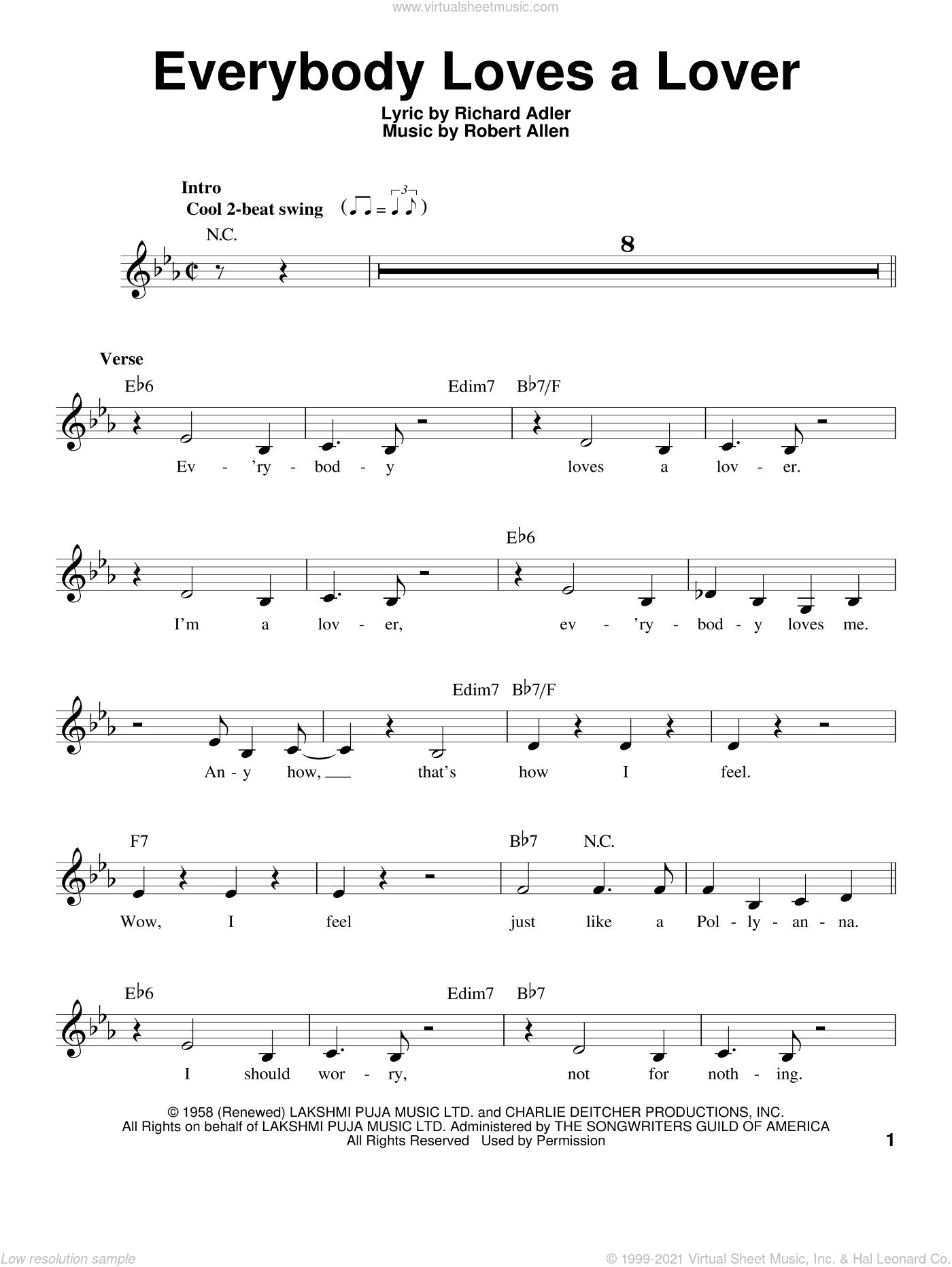 Everybody Loves A Lover sheet music for voice solo by Robert Allen and Richard Adler, intermediate skill level