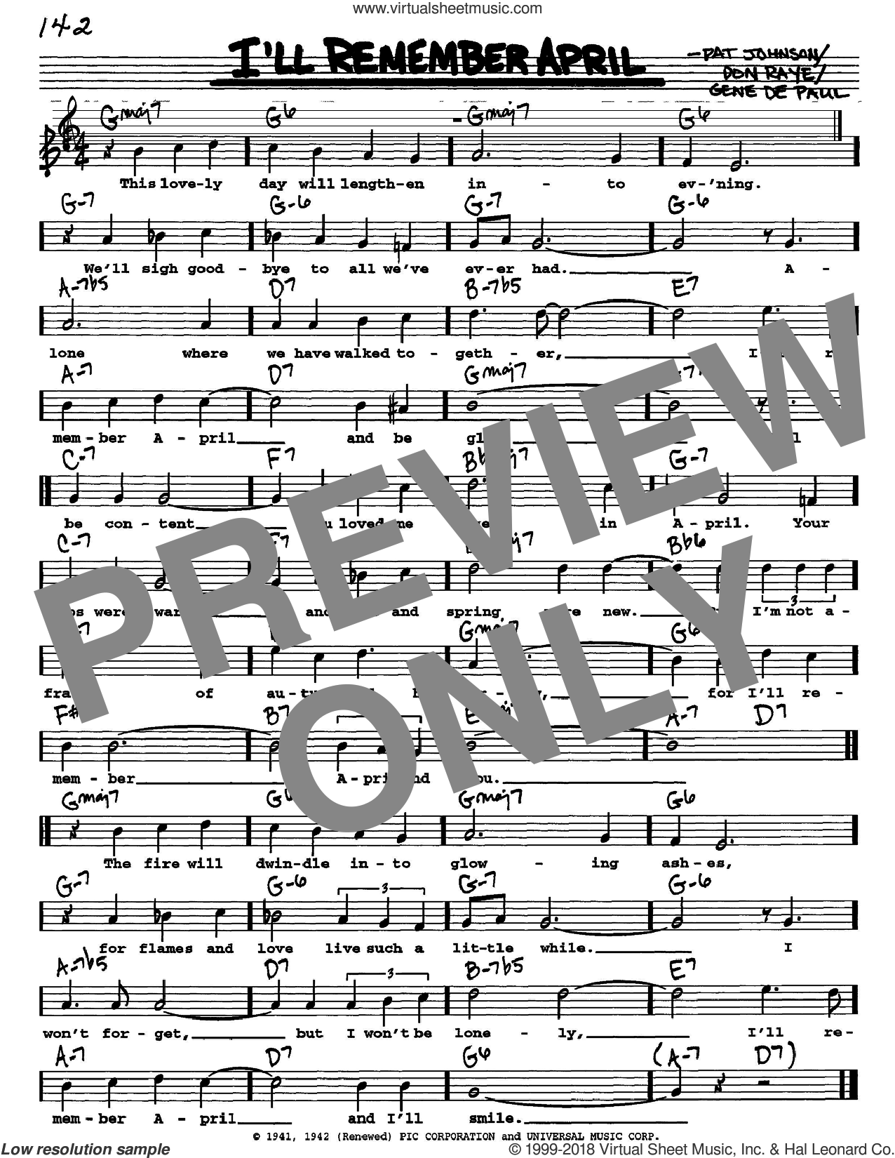 I'll Remember April sheet music for voice and other instruments (Vocal Volume 1) by Woody Herman, Don Raye and Gene DePaul, intermediate. Score Image Preview.