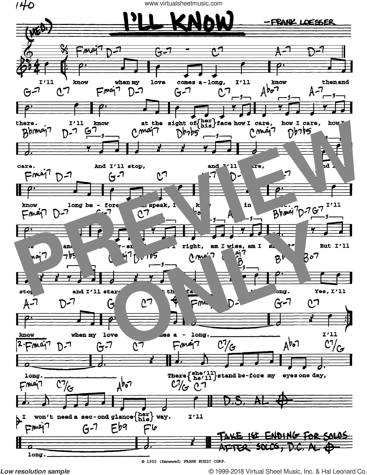 I'll Know sheet music for voice and other instruments  by Frank Loesser, intermediate skill level