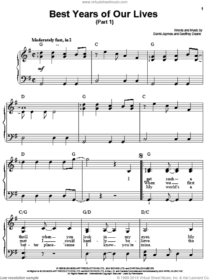 Best Years Of Our Lives (Part I) sheet music for piano solo (chords) by Geoffrey Deane