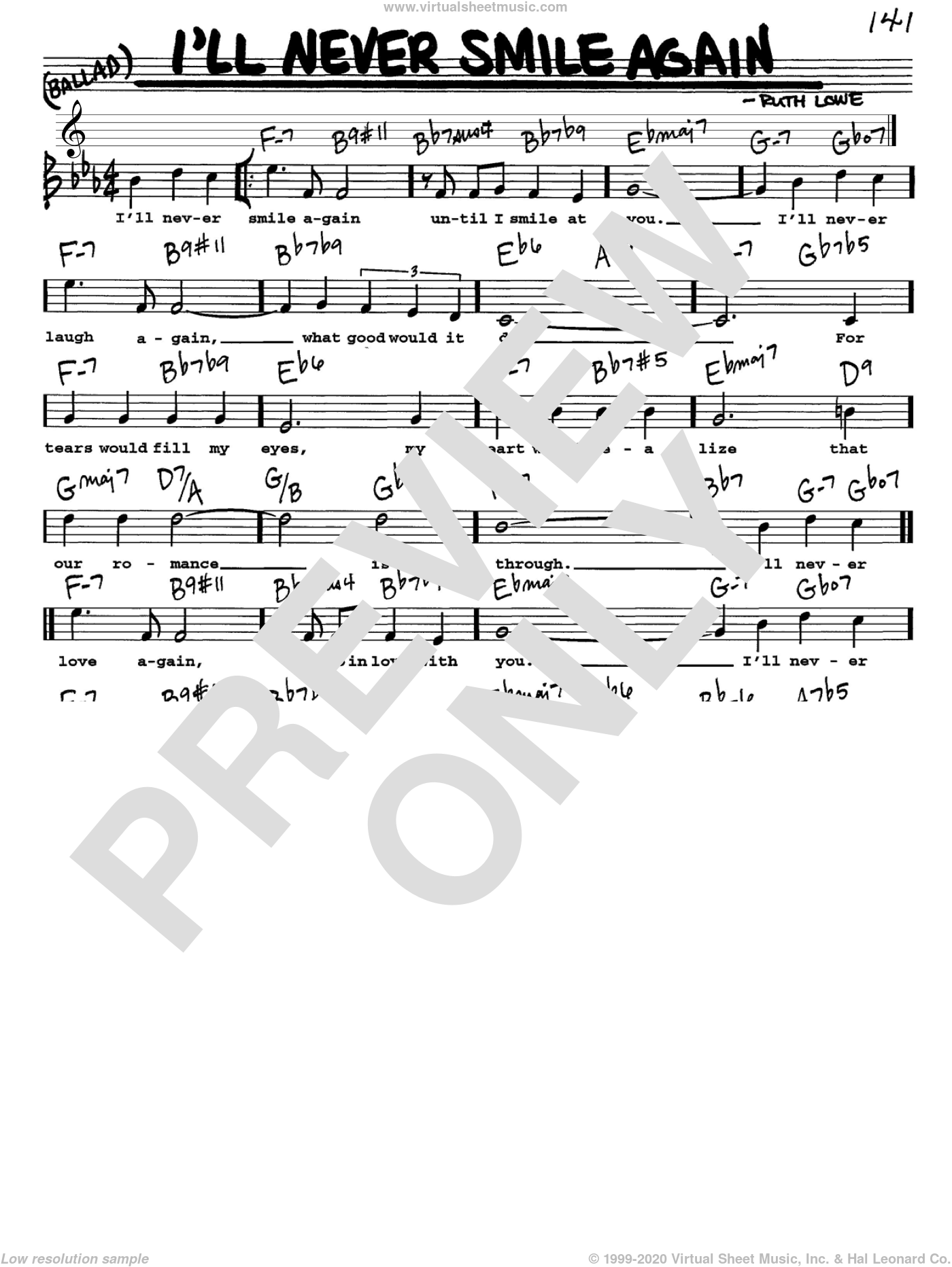 I'll Never Smile Again sheet music for voice and other instruments (Vocal Volume 1) by Ruth Lowe