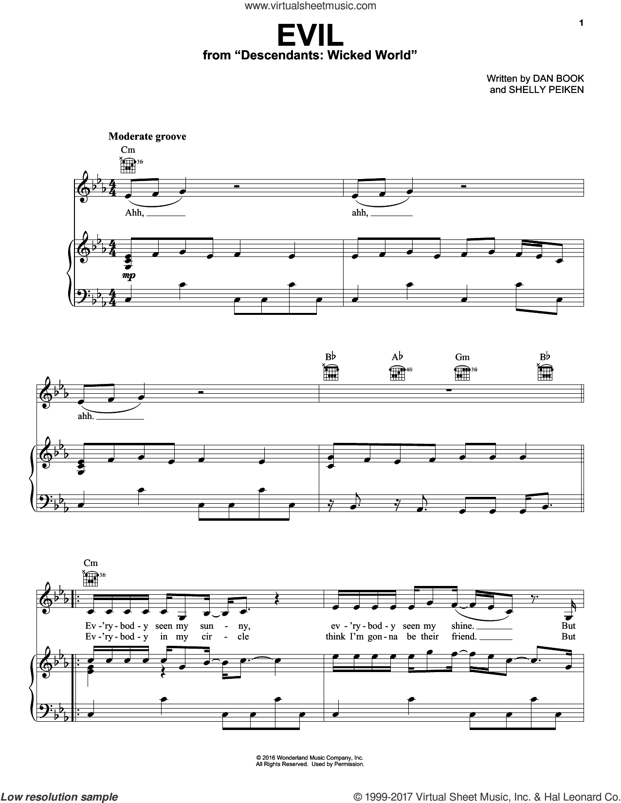 Evil sheet music for voice, piano or guitar by Dan Book, intermediate. Score Image Preview.