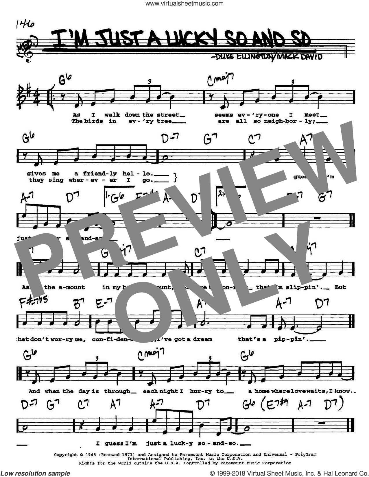 I'm Just A Lucky So And So sheet music for voice and other instruments (Vocal Volume 1) by Duke Ellington and Mack David, intermediate voice. Score Image Preview.
