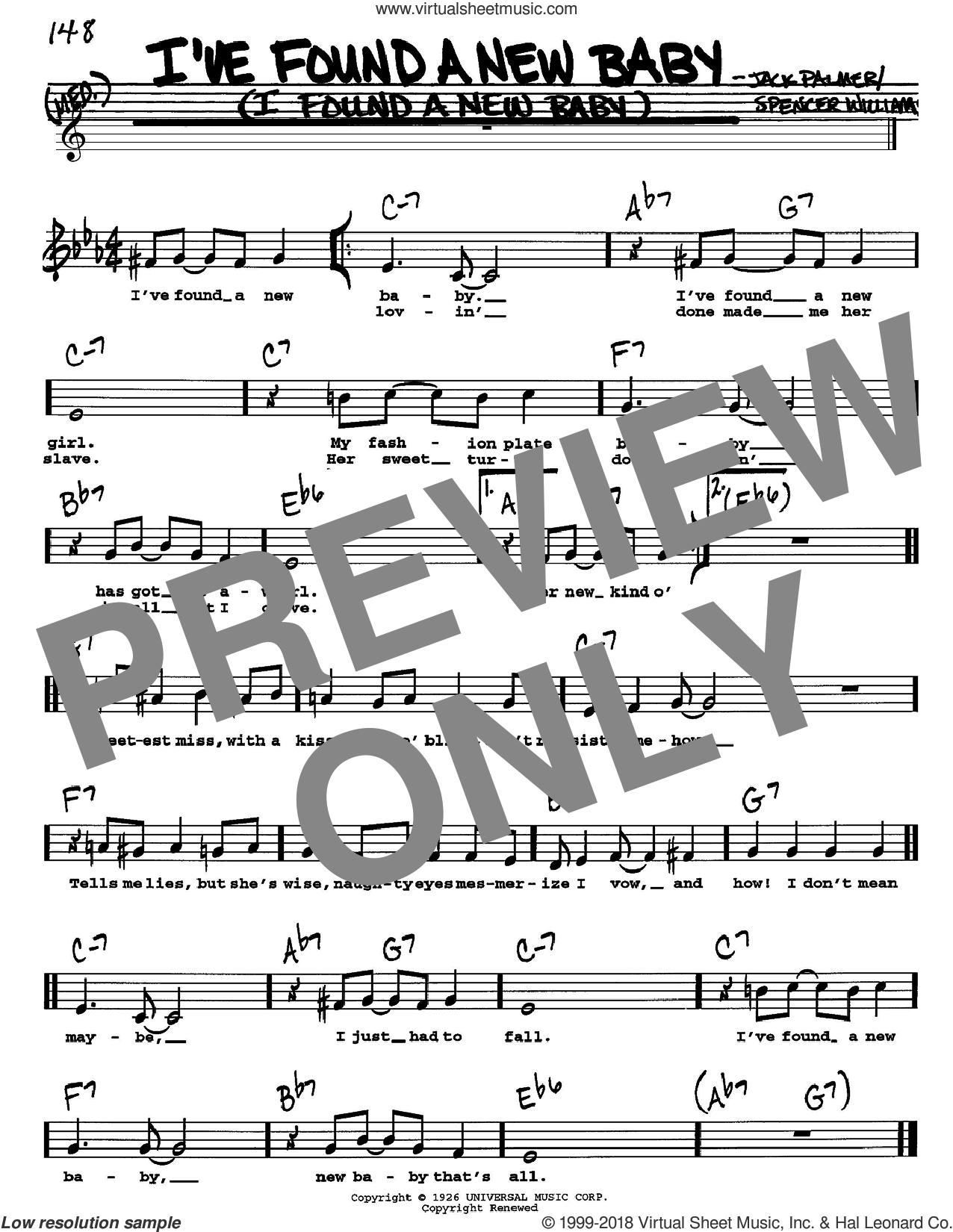 I've Found A New Baby (I Found A New Baby) sheet music for voice and other instruments (Vocal Volume 1) by Spencer Williams, Benny Goodman and Jack Palmer. Score Image Preview.