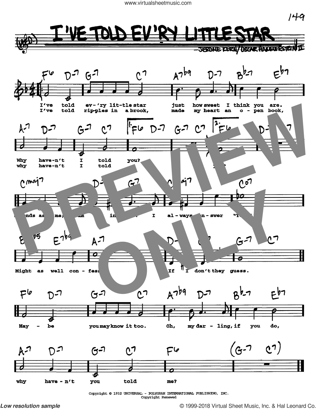 I've Told Ev'ry Little Star sheet music for voice and other instruments (Vocal Volume 1) by Oscar II Hammerstein