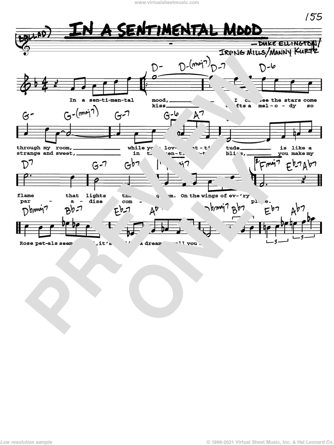 In A Sentimental Mood sheet music for voice and other instruments  by Duke Ellington, Irving Mills and Manny Kurtz, intermediate skill level