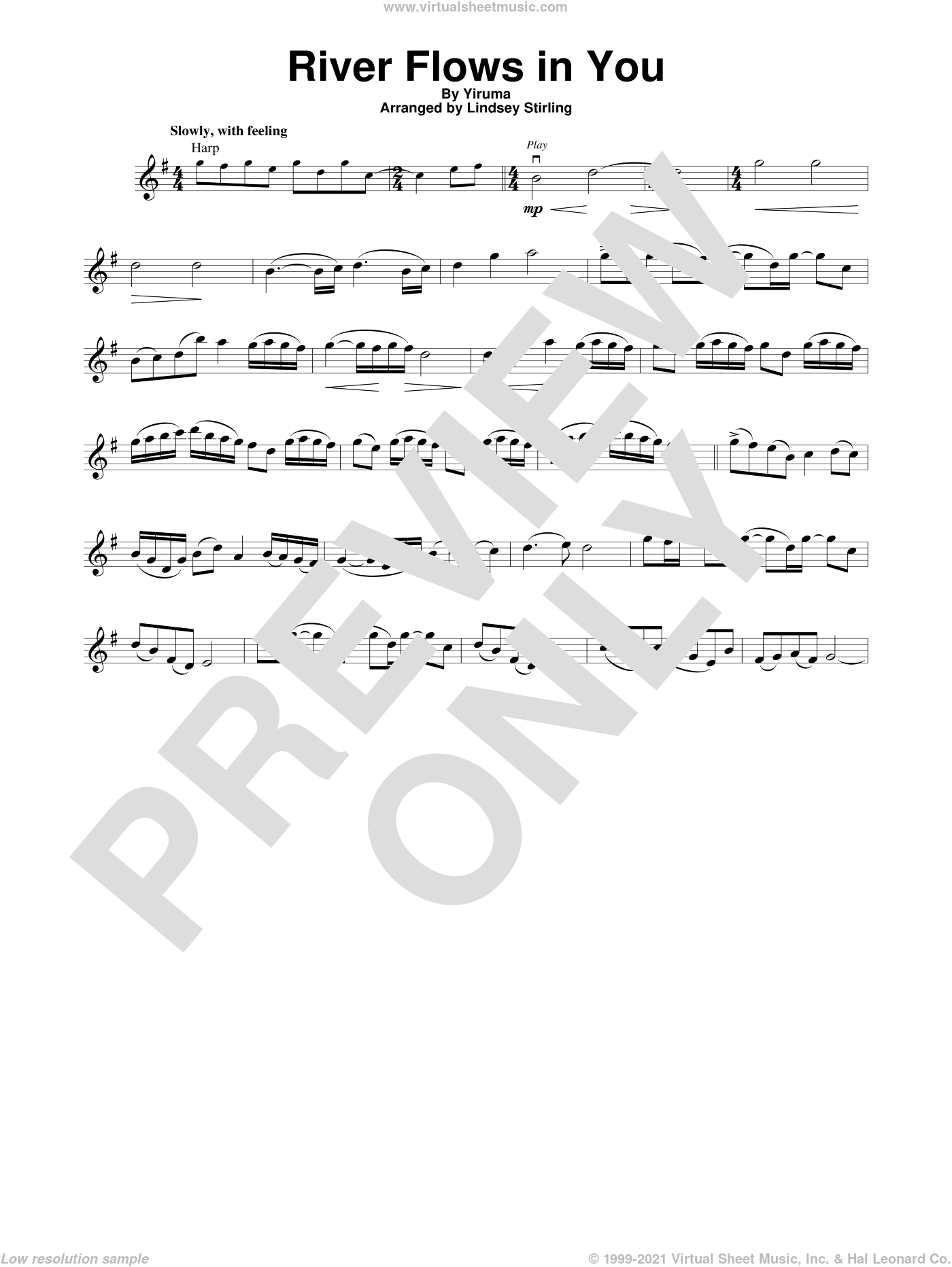 River Flows In You sheet music for violin solo by Yiruma and Lindsey Stirling, intermediate