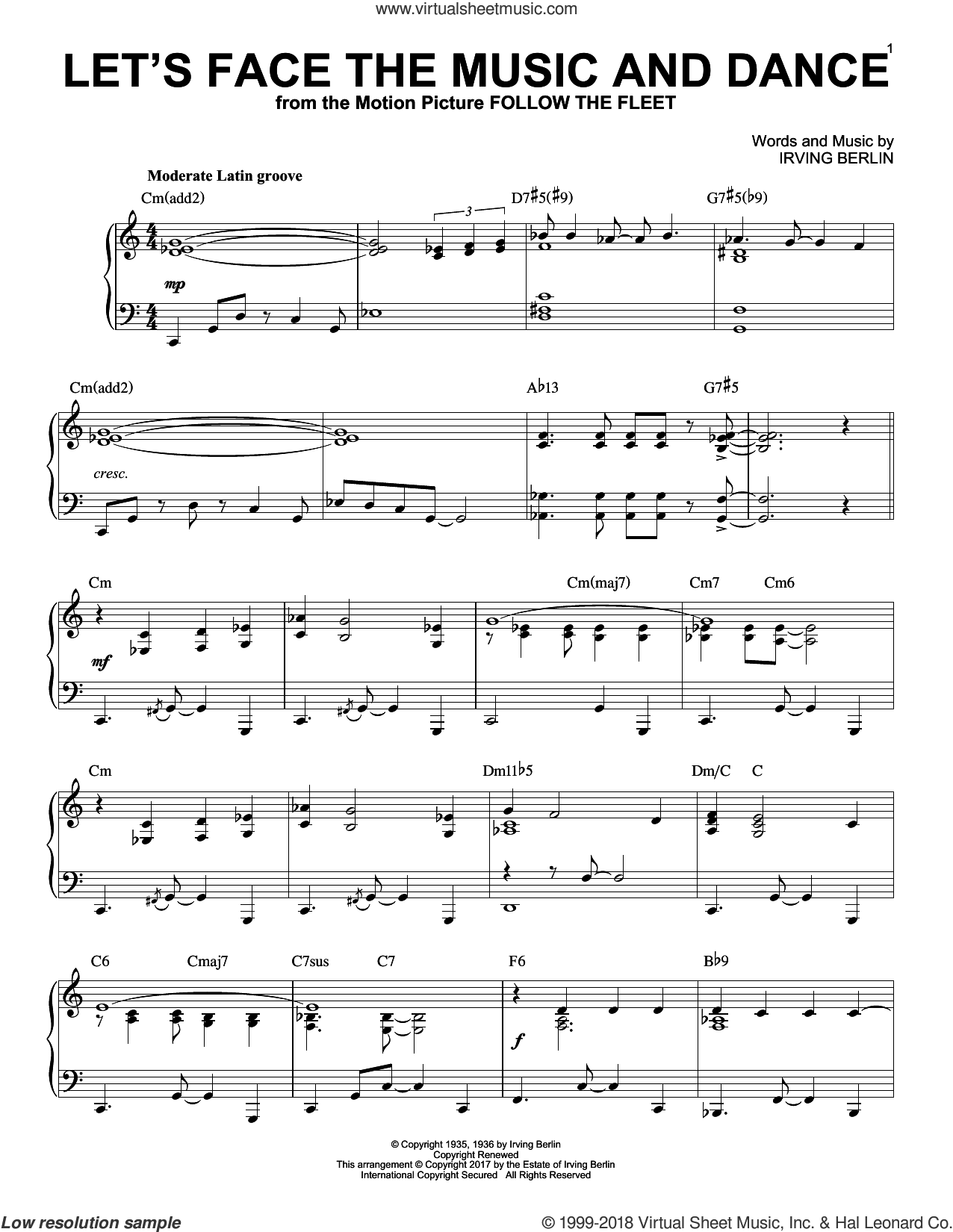 Let's Face The Music And Dance [Jazz version] sheet music for piano solo by Irving Berlin and Dick Hyman, intermediate skill level