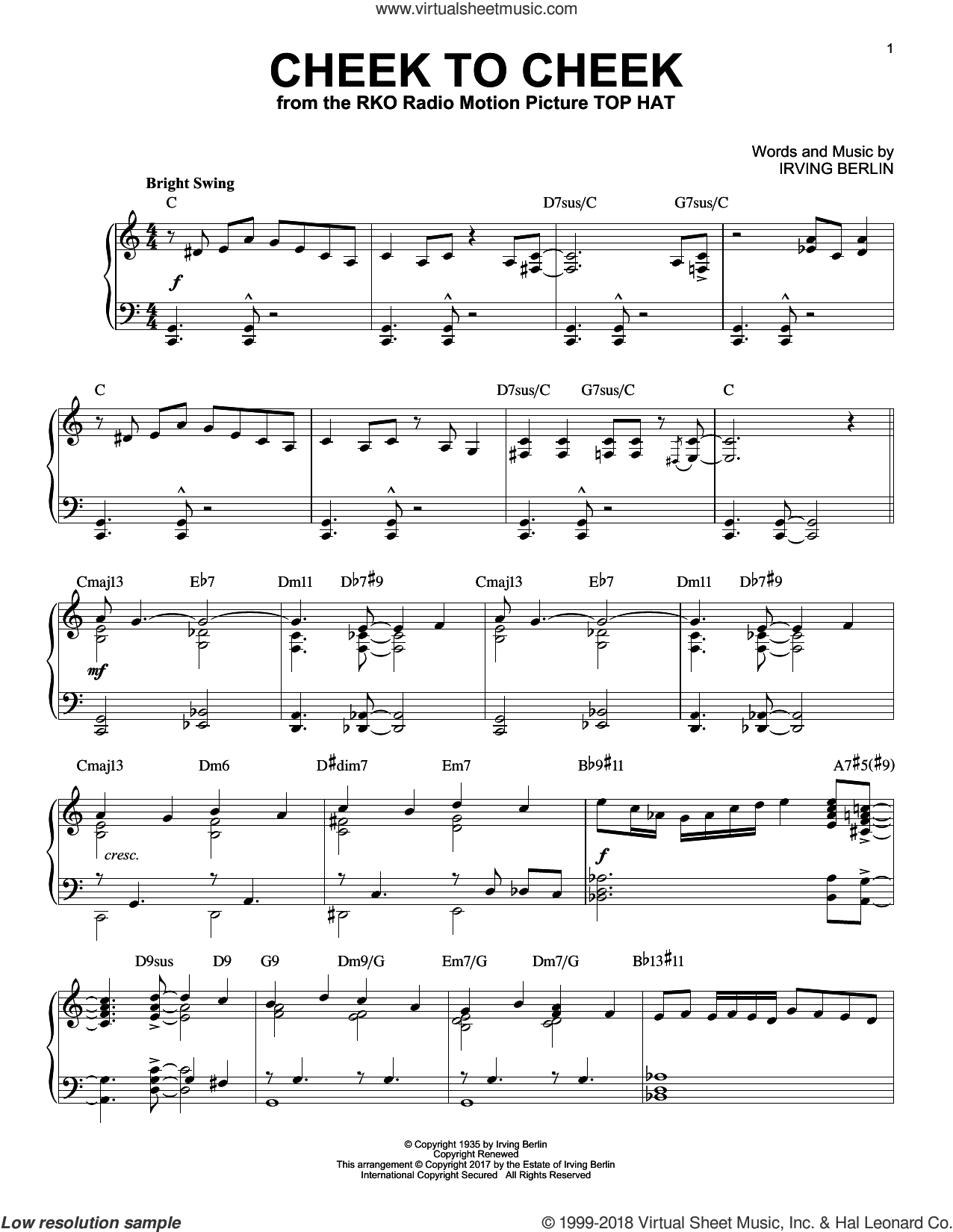 Cheek To Cheek, (intermediate) sheet music for piano solo by Irving Berlin and Fred Astaire, intermediate skill level