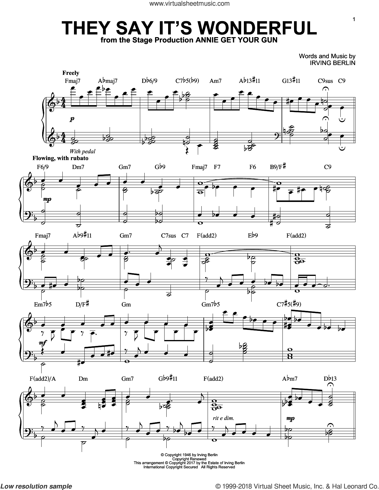 They Say It's Wonderful [Jazz version] sheet music for piano solo by Irving Berlin, intermediate skill level