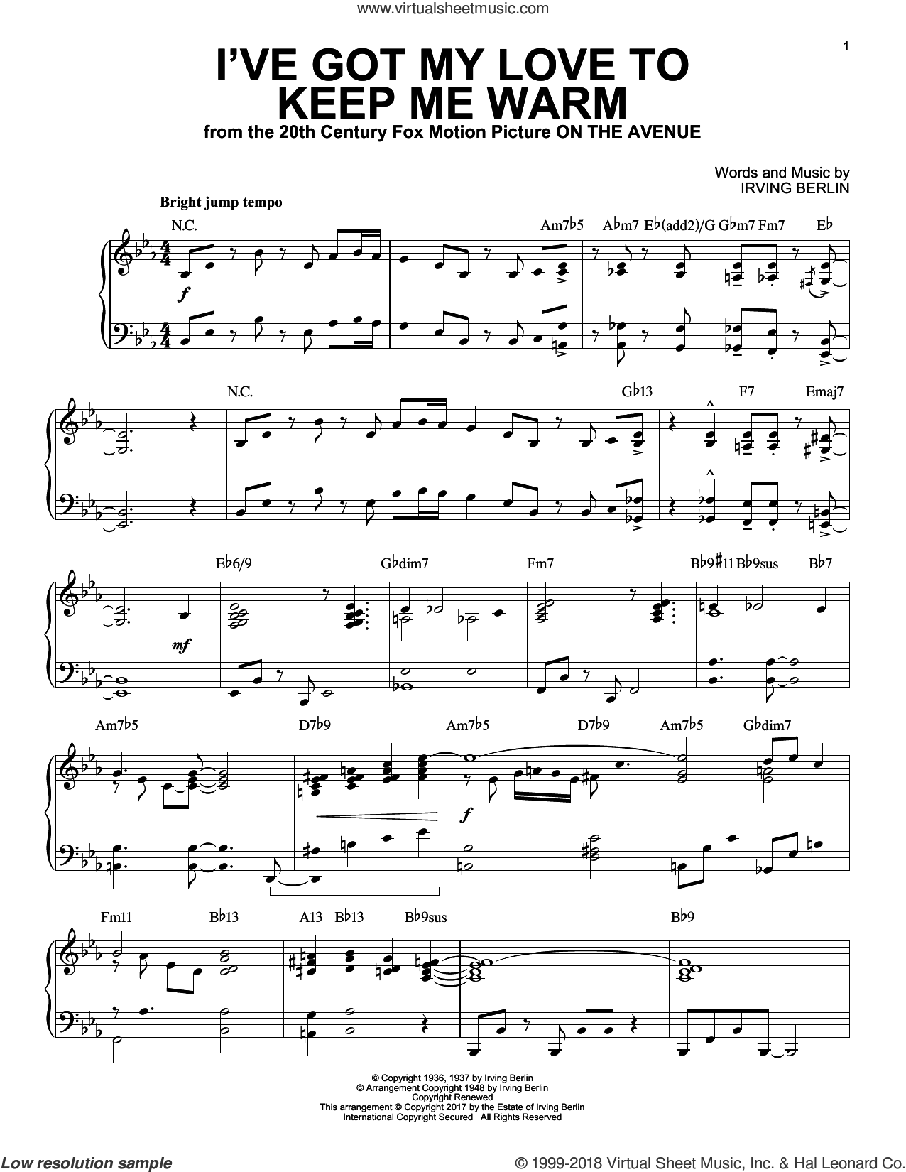 I've Got My Love To Keep Me Warm sheet music for piano solo by Irving Berlin and Benny Goodman, intermediate skill level