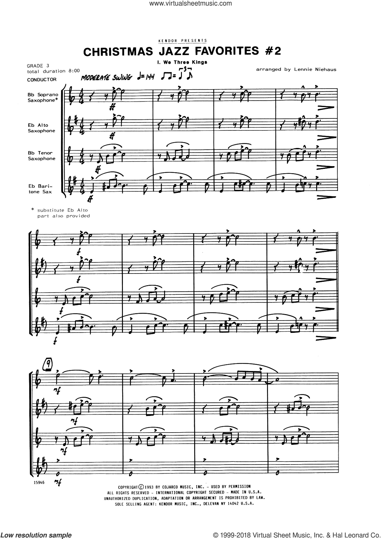 Christmas Jazz Favorites #2 (COMPLETE) sheet music for saxophone quartet by Lennie Niehaus, intermediate skill level