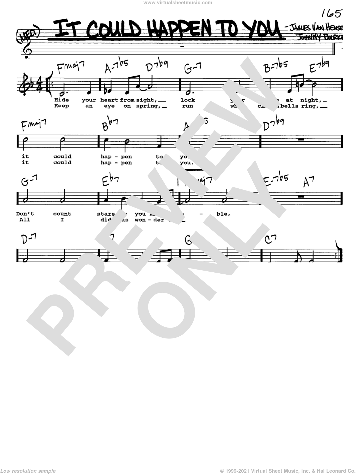 It Could Happen To You sheet music for voice and other instruments (Vocal Volume 1) by John Burke, Frank Sinatra and Jimmy van Heusen. Score Image Preview.