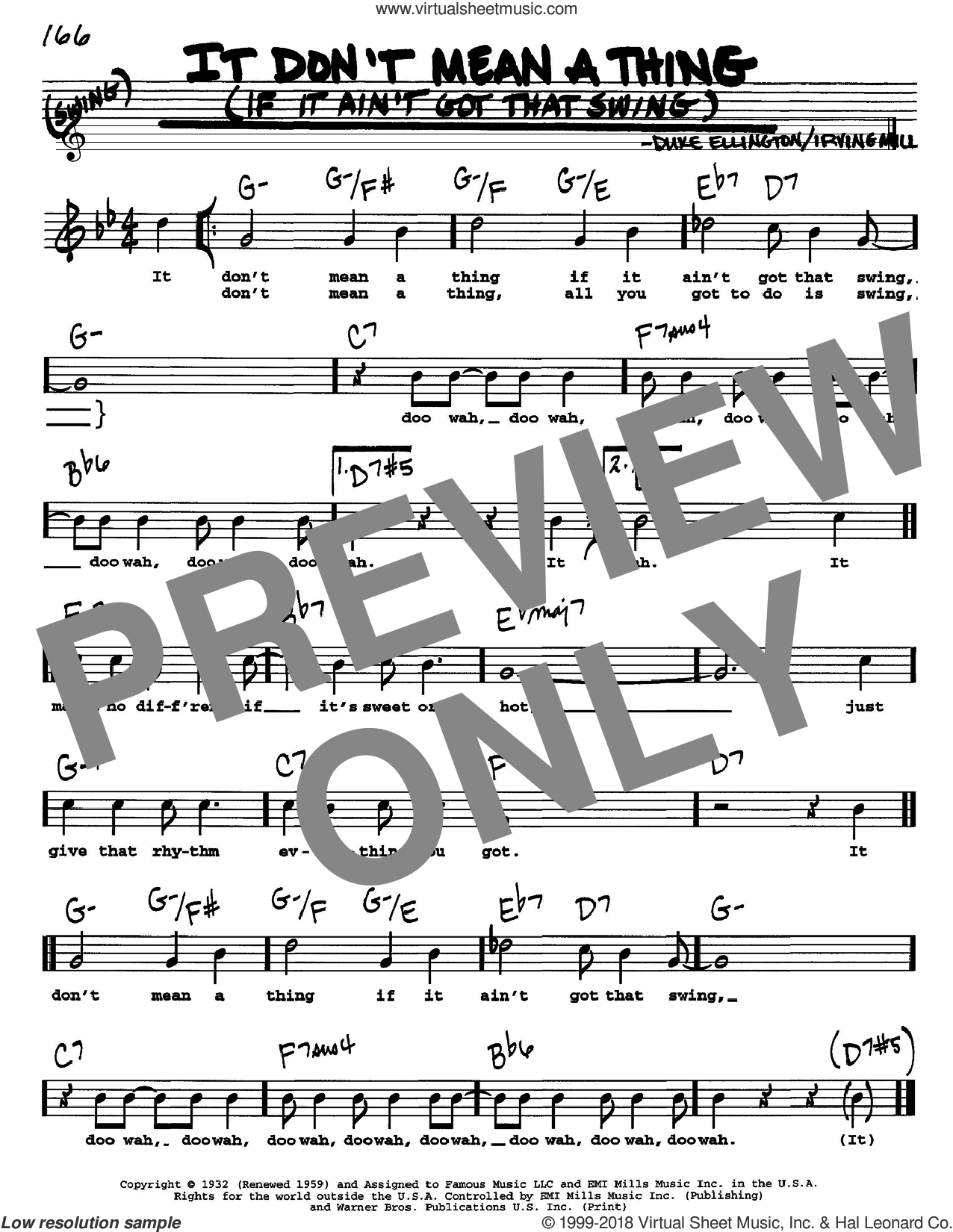 It Don't Mean A Thing (If It Ain't Got That Swing) sheet music for voice and other instruments (Vocal Volume 1) by Irving Mills and Duke Ellington. Score Image Preview.