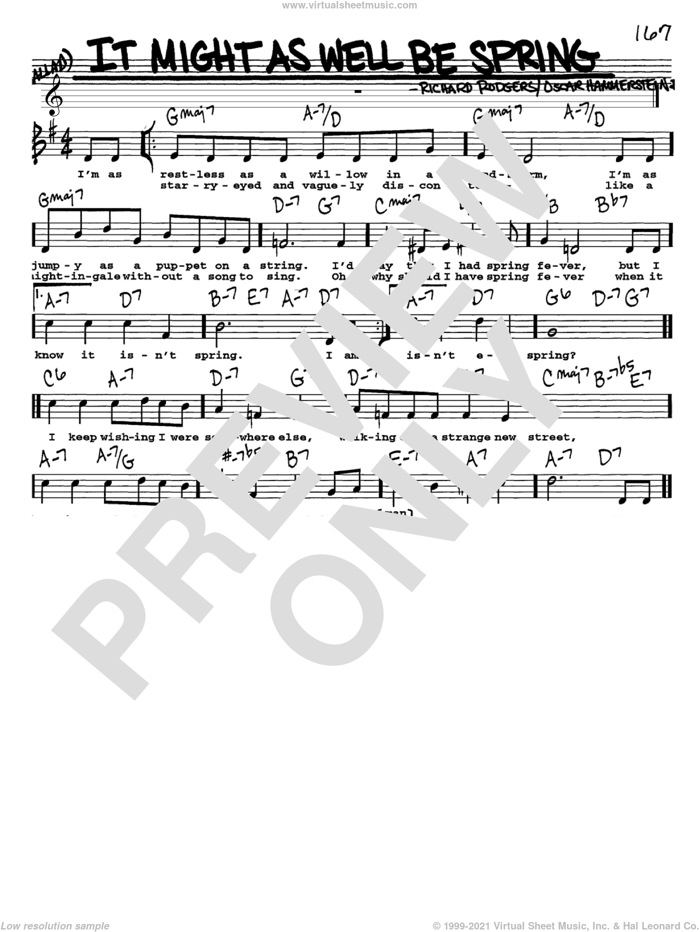 It Might As Well Be Spring sheet music for voice and other instruments (Vocal Volume 1) by Richard Rodgers, Rodgers & Hammerstein and Oscar II Hammerstein. Score Image Preview.