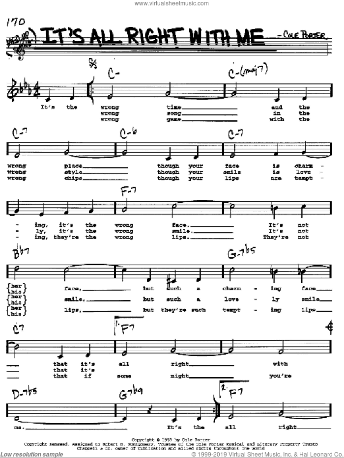 It's All Right With Me sheet music for voice and other instruments  by Cole Porter, intermediate skill level