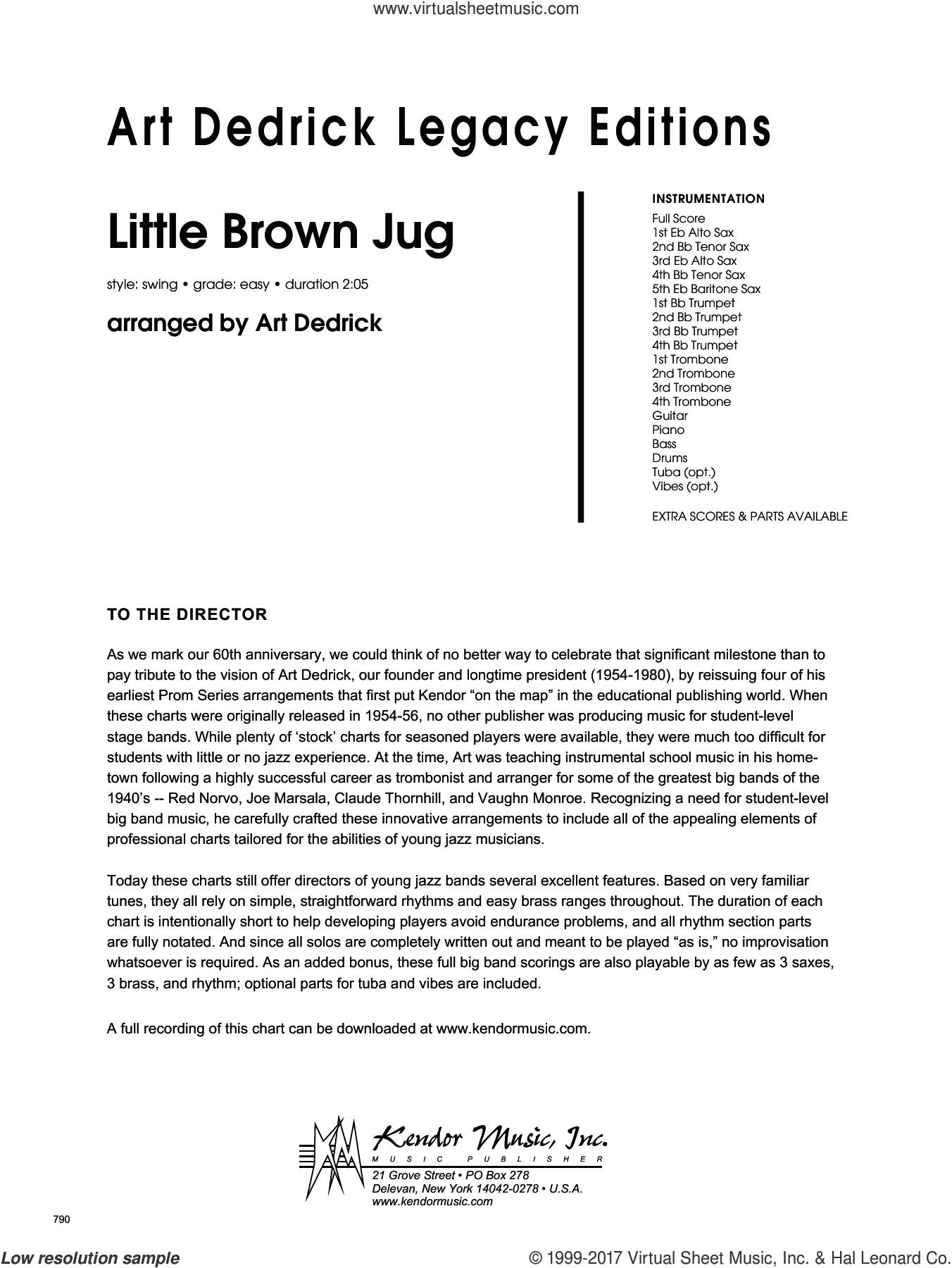 Little Brown Jug (COMPLETE) sheet music for jazz band by Art Dedrick and Miscellaneous, intermediate. Score Image Preview.