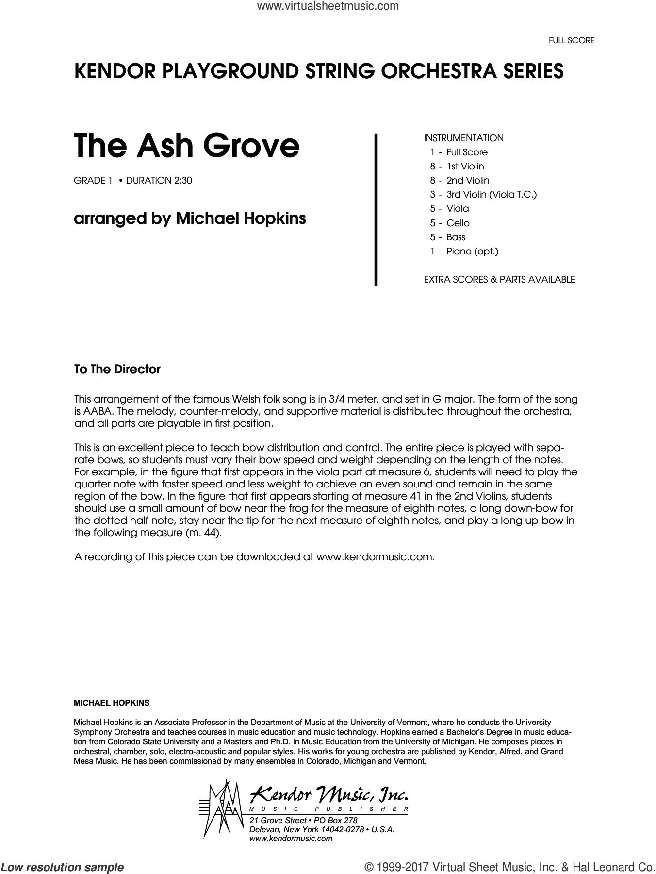 The Ash Grove (COMPLETE) sheet music for orchestra by Michael Hopkins and Miscellaneous, intermediate orchestra. Score Image Preview.