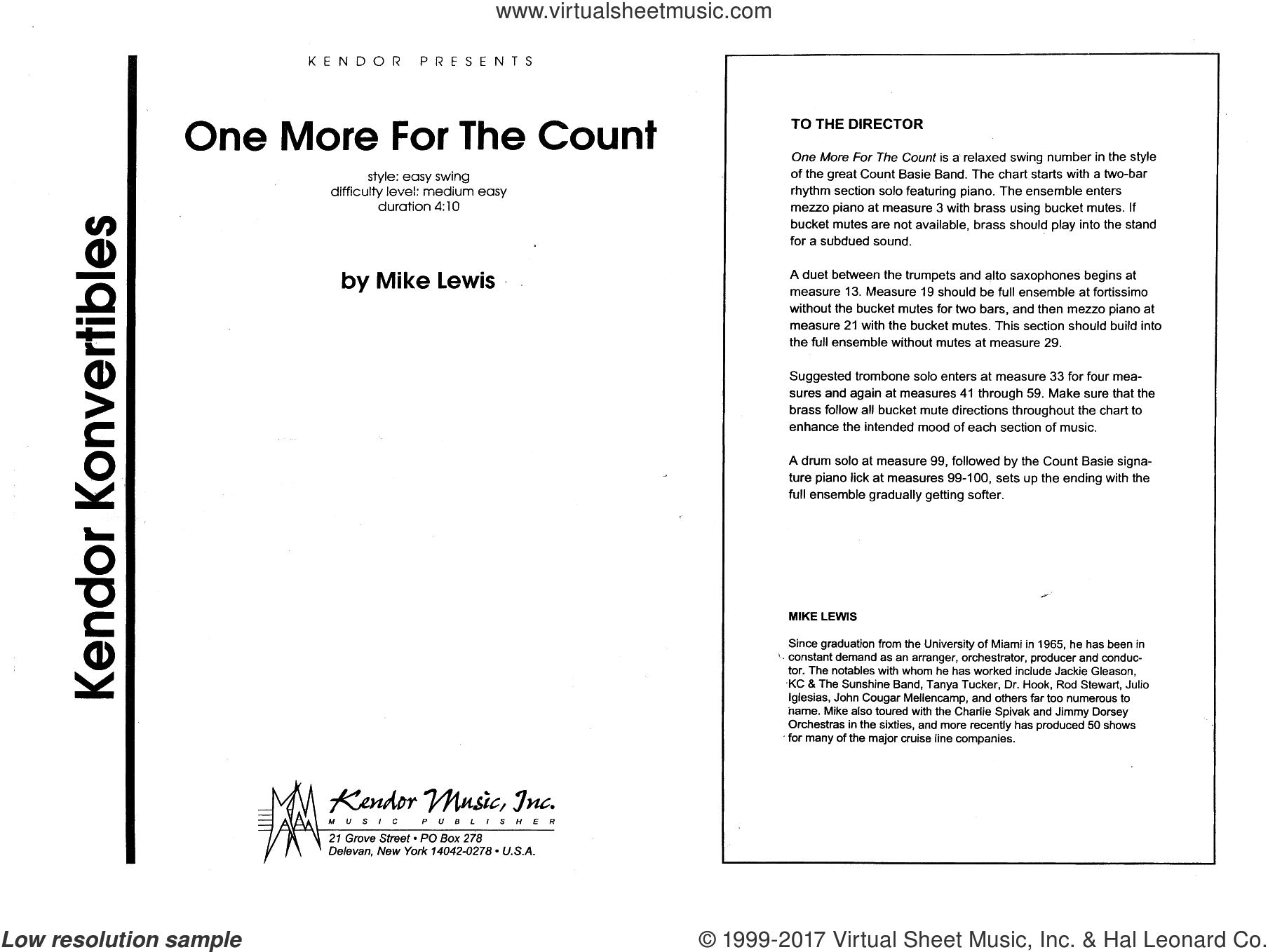 One More For The Count (COMPLETE) sheet music for jazz band by Mike Lewis, intermediate jazz band. Score Image Preview.