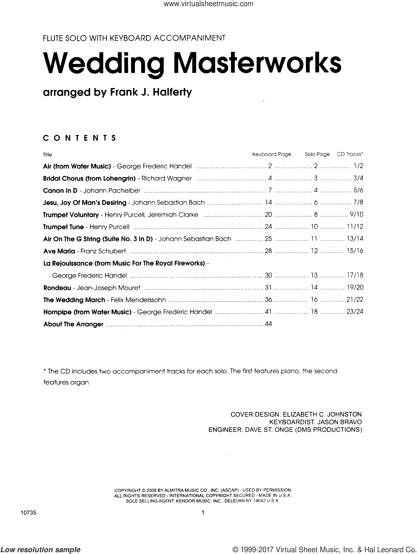Wedding Masterworks - Flute (complete set of parts) sheet music for flaute and piano by Frank J. Halferty and Miscellaneous, wedding score, intermediate. Score Image Preview.