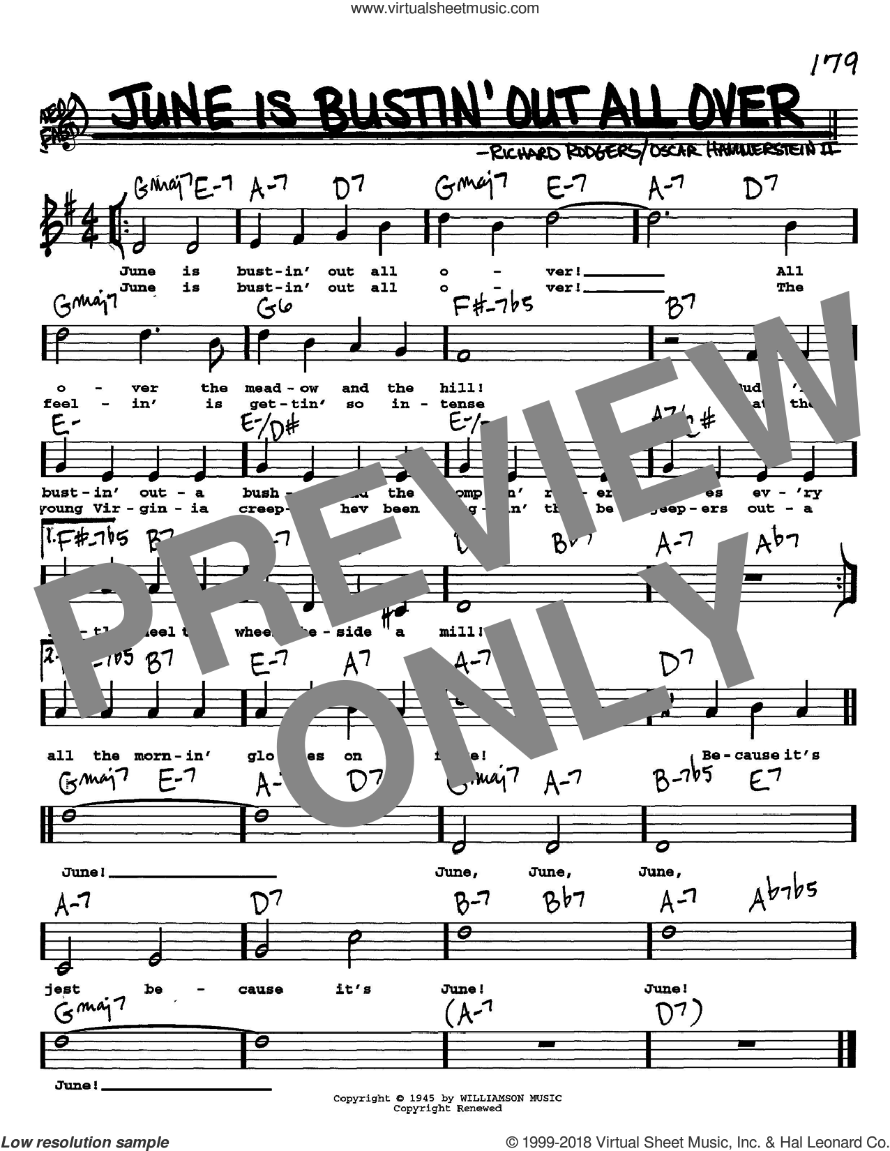 June Is Bustin' Out All Over sheet music for voice and other instruments (Vocal Volume 1) by Rodgers & Hammerstein, Oscar II Hammerstein and Richard Rodgers. Score Image Preview.