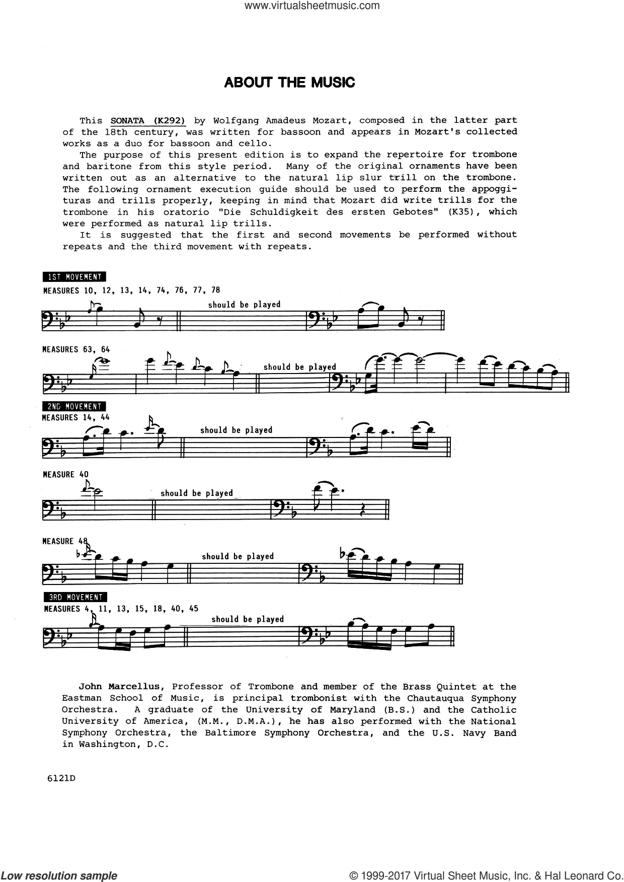 Sonata In Bb Major (K292) (complete set of parts) sheet music for trombone and piano by Wolfgang Amadeus Mozart and John Marcellus, classical score, intermediate trombone. Score Image Preview.