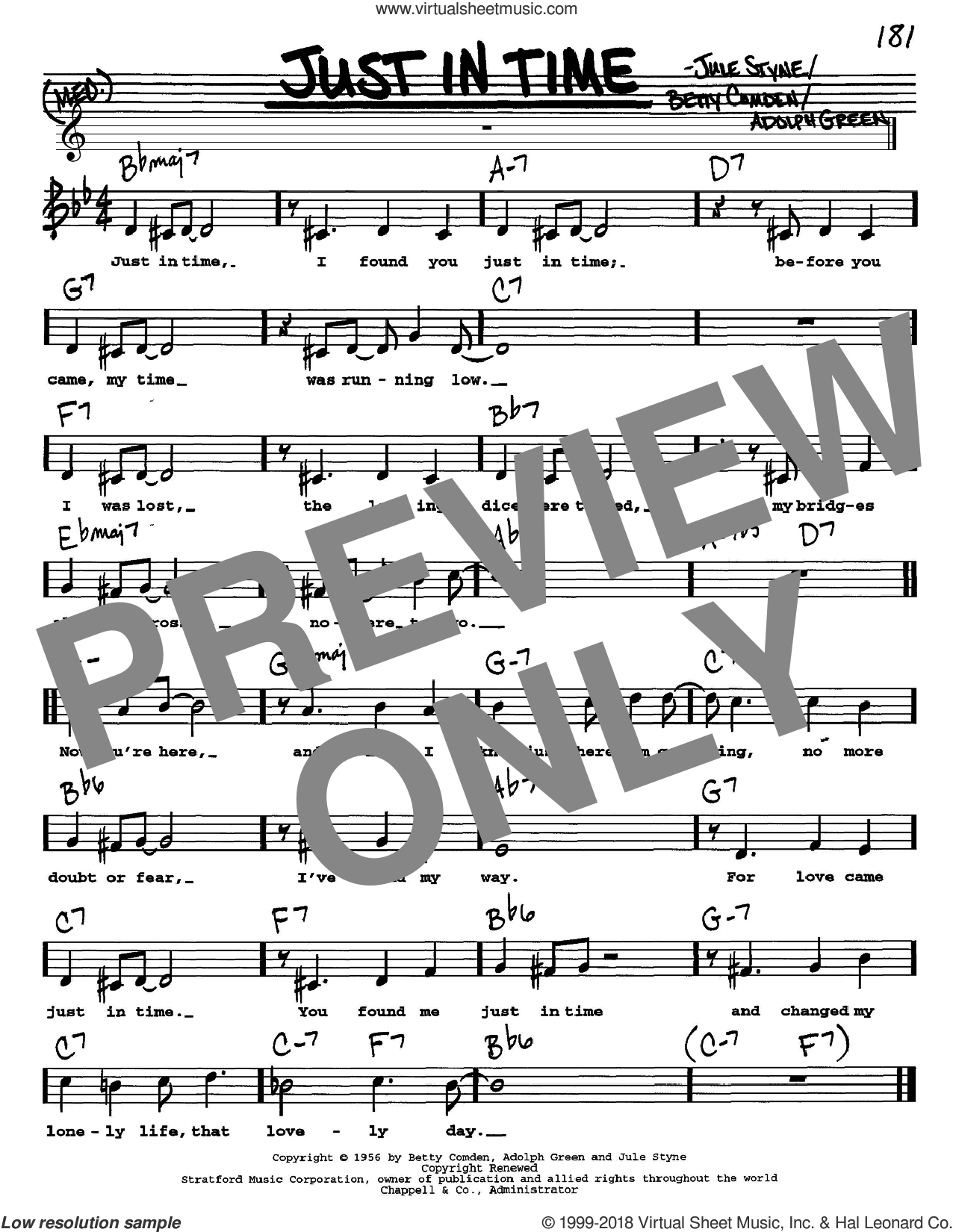 Just In Time sheet music for voice and other instruments (Vocal Volume 1) by Frank Sinatra, Adolph Green, Betty Comden and Jule Styne, intermediate. Score Image Preview.