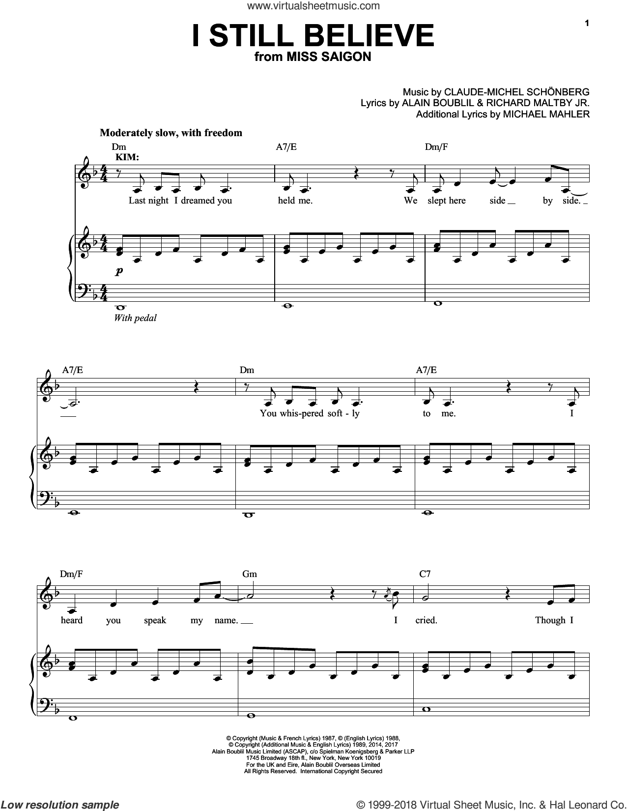 I Still Believe sheet music for voice and piano by Alain Boublil, Claude-Michel Schonberg, Claude-Michel Schonberg, Michael Mahler and Richard Maltby, Jr., intermediate skill level