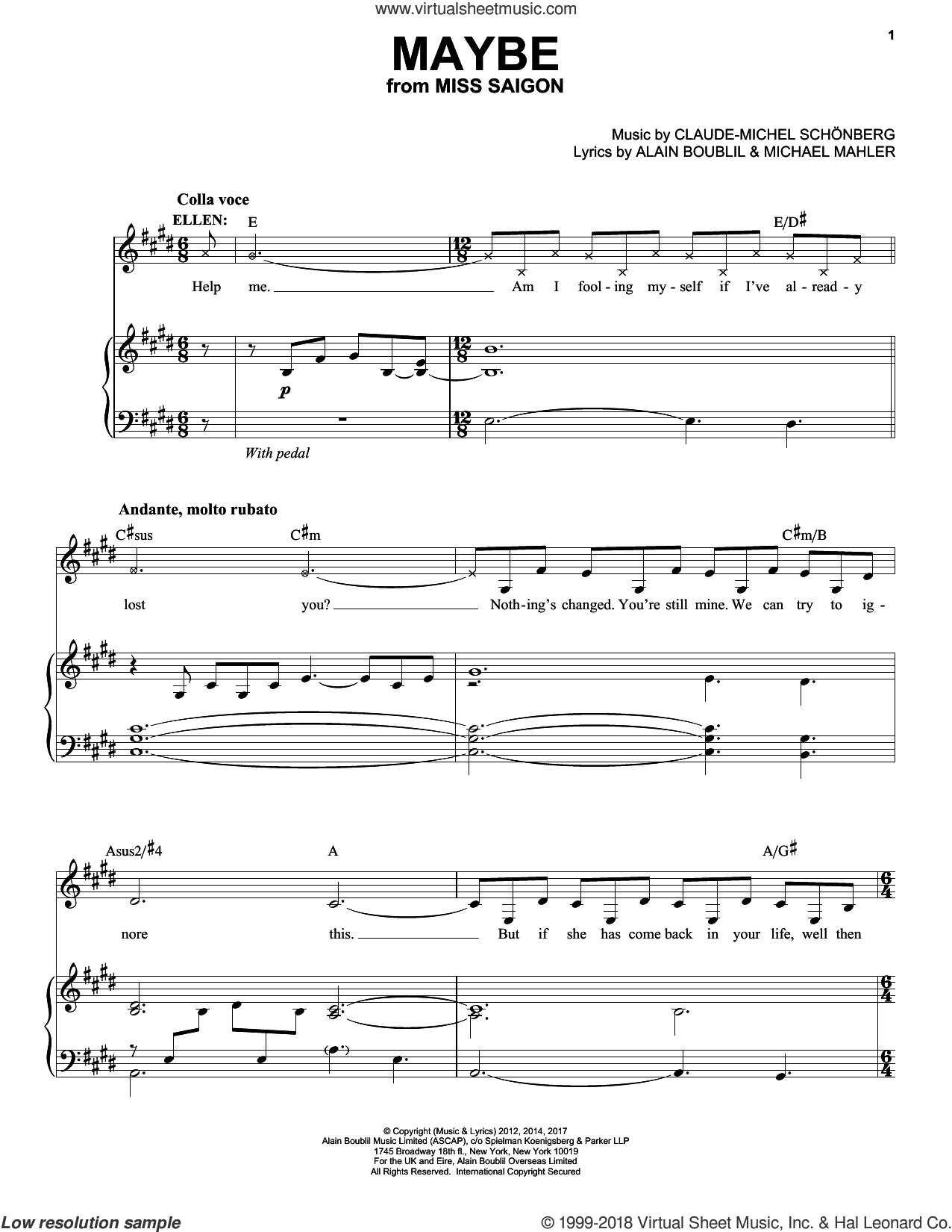 Maybe sheet music for voice and piano by Alain Boublil, Claude-Michel Schonberg, Claude-Michel Schonberg and Michael Mahler, intermediate skill level