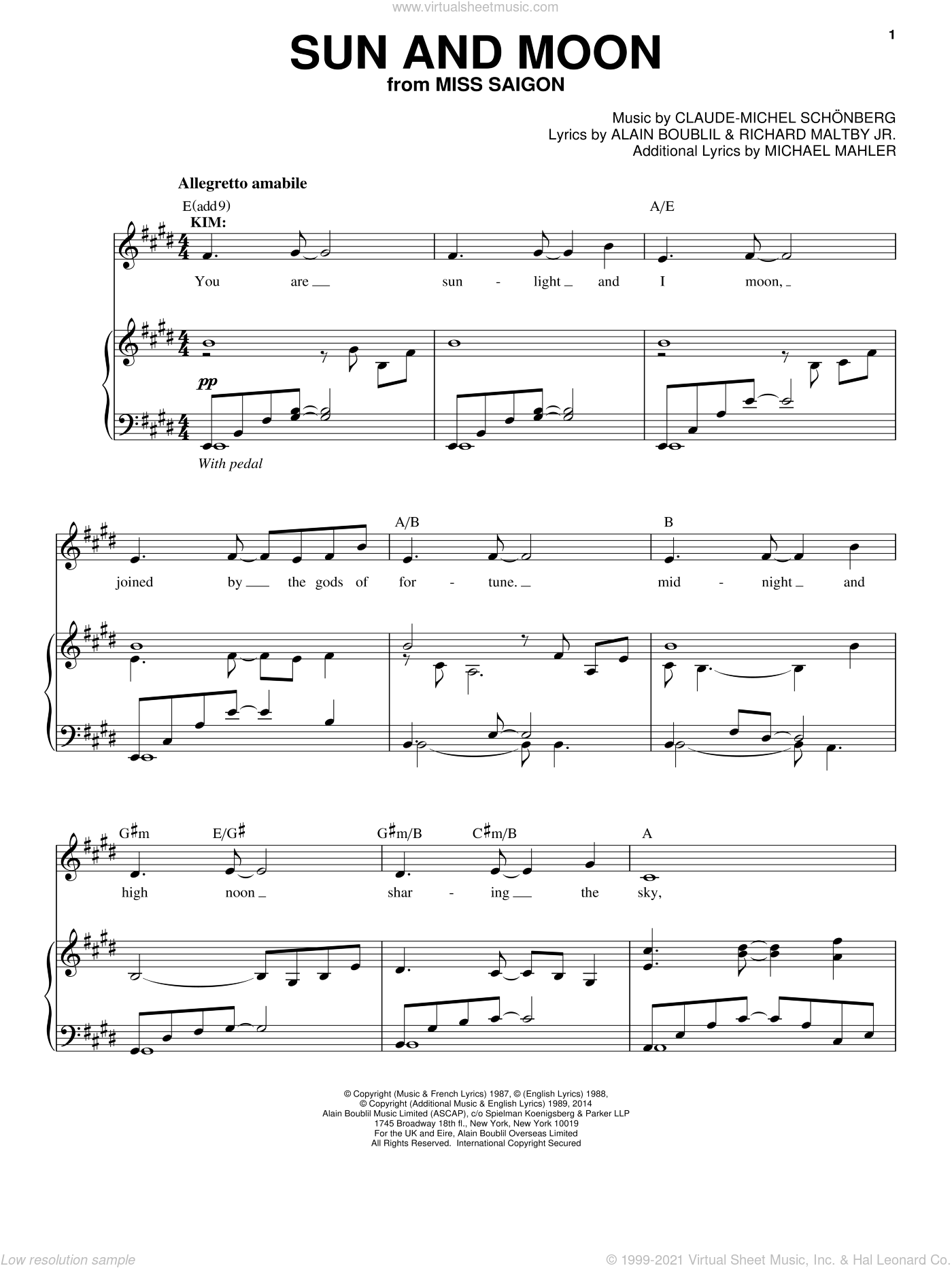 Sun And Moon sheet music for voice and piano by Alain Boublil, Claude-Michel Schonberg, Claude-Michel Schonberg, Michael Mahler and Richard Maltby, Jr., intermediate skill level