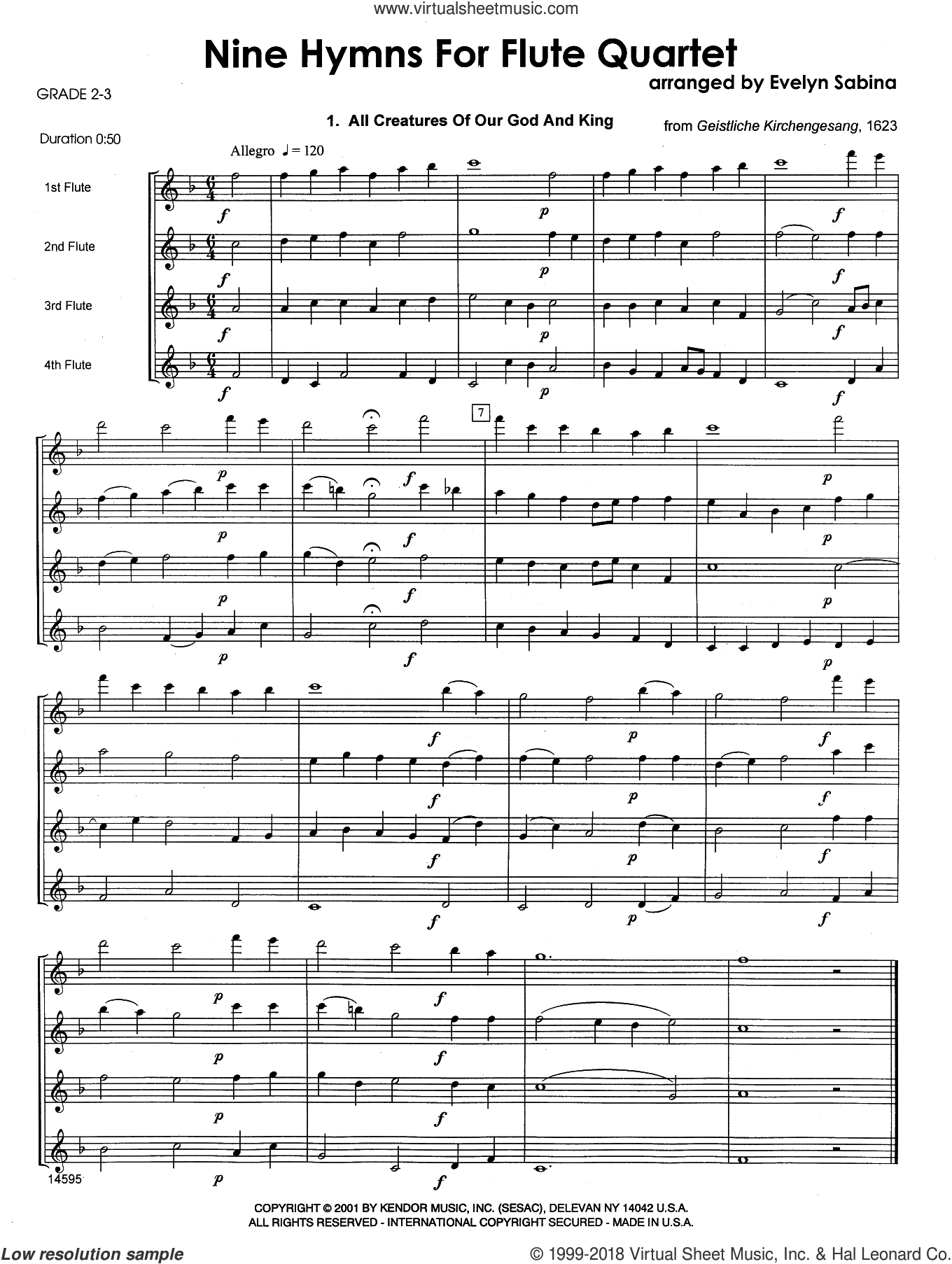 Nine Hymns For Flute Quartet (COMPLETE) sheet music for flute quartet by Evelyn Sabina and Miscellaneous, intermediate skill level