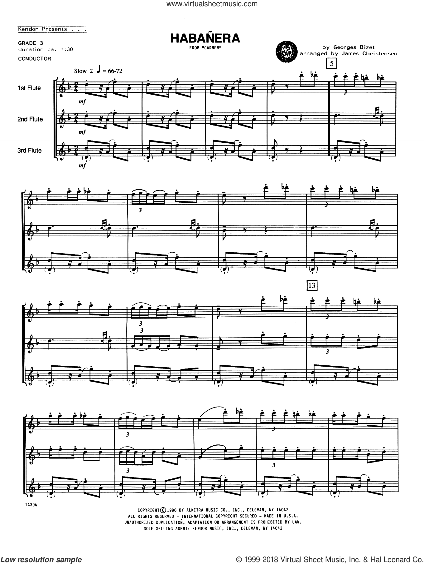 Habanera (from Carmen) (COMPLETE) sheet music for flute trio by Georges Bizet and James Christensen, intermediate flute trio. Score Image Preview.